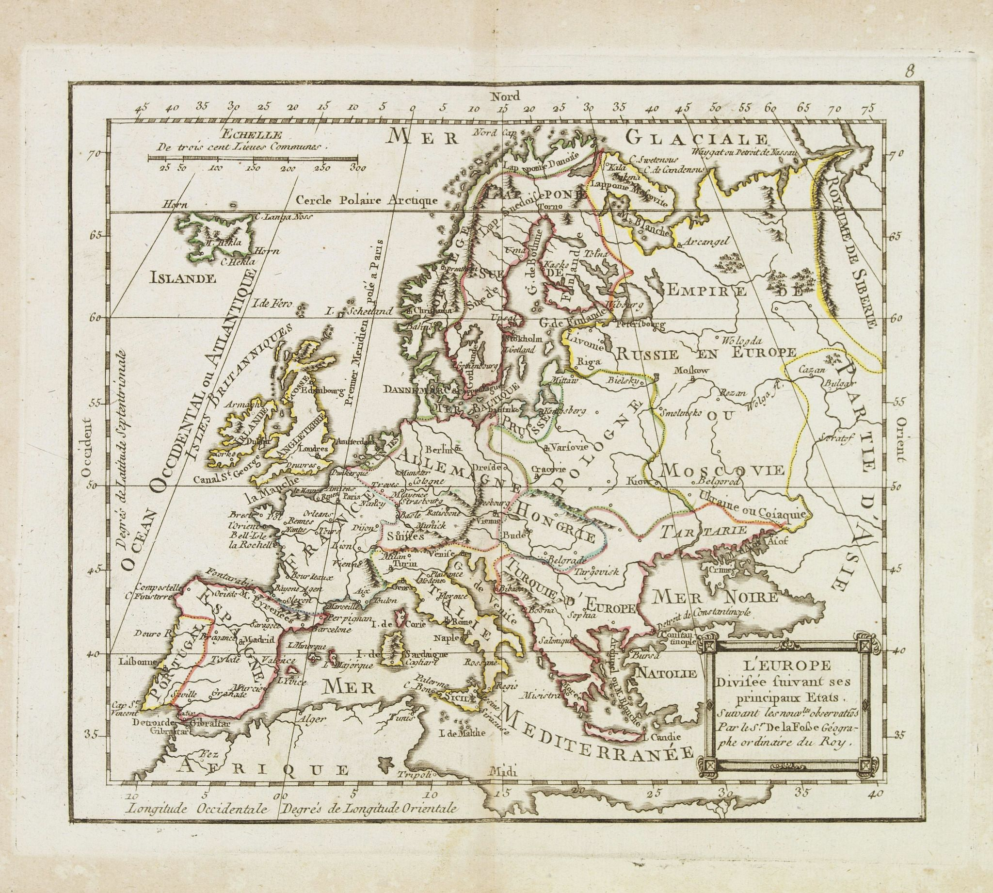 MONDHARE, L.J. / NOLIN, J.B. -  L'Europe Divisée Suivant ses principaux Etats . . .