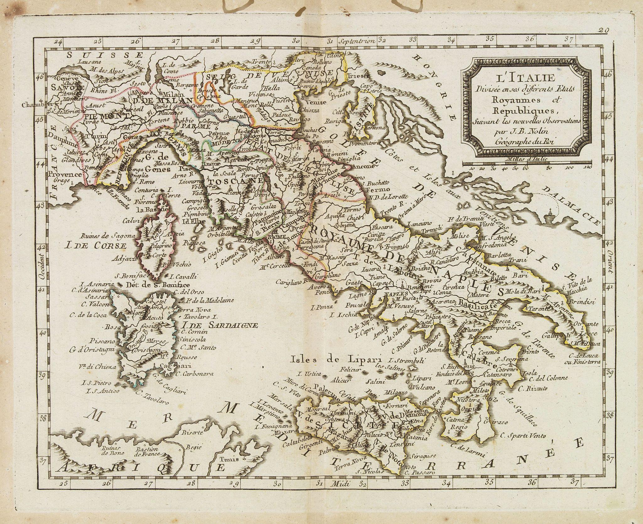 MONDHARE, L.J. / NOLIN, J.B. -  L'Italie divisée en ses différents Etats Royaumes et Republiques. . .