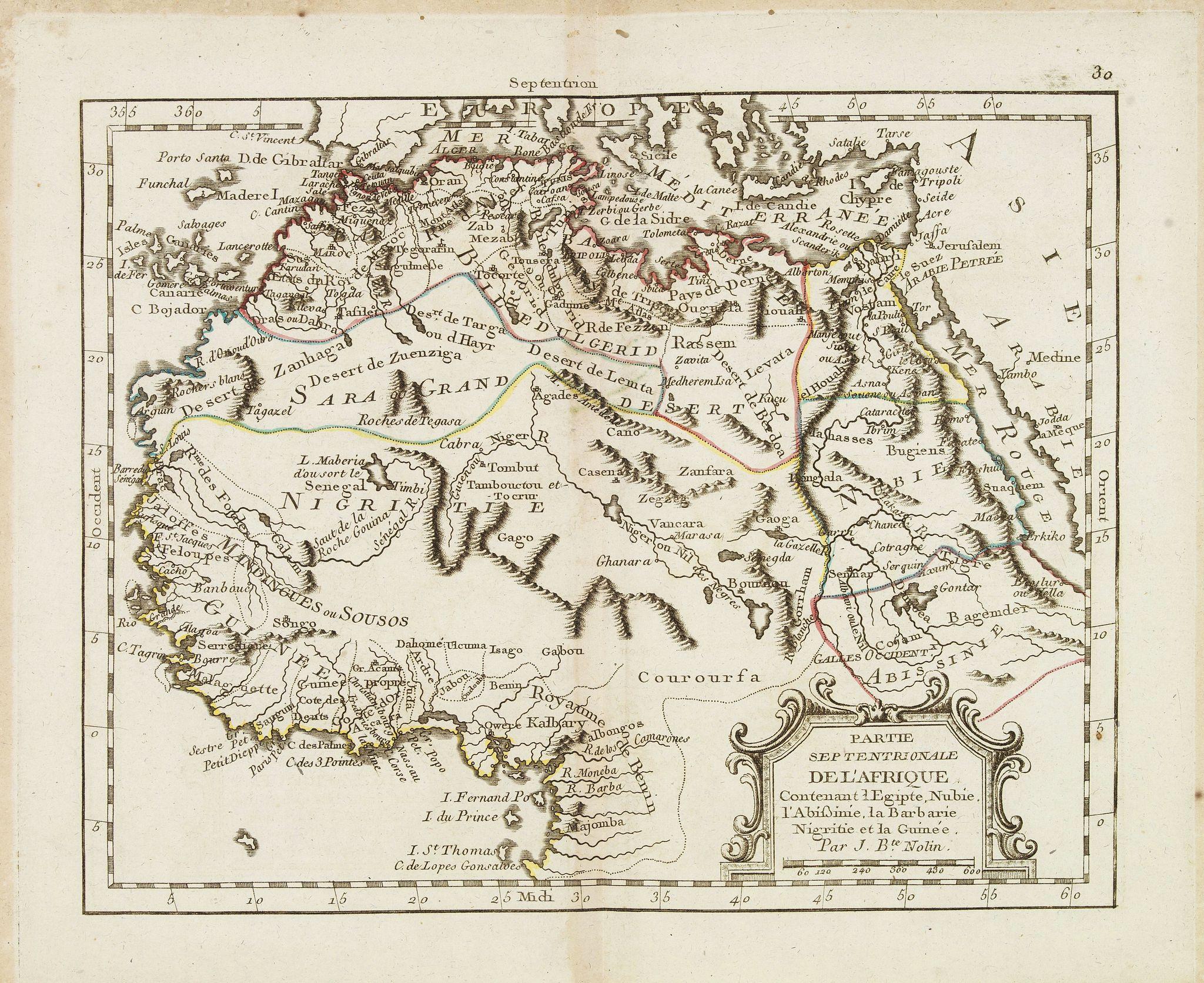 MONDHARE, L.J. / NOLIN, J.B. -  Partie septentrionale de l'Afrique contenant l'Egipte. . .