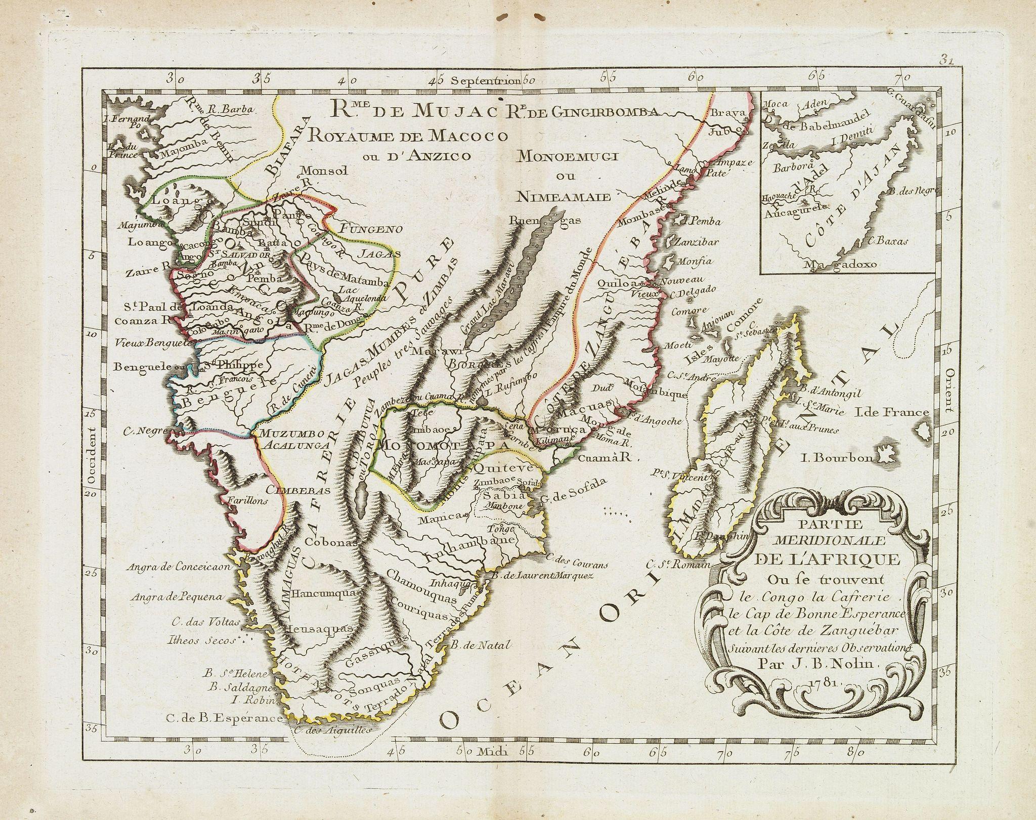 MONDHARE, L.J. / NOLIN, J.B. -  Partie meridionale de l'Afrique ou se trouvent le Congo. . .
