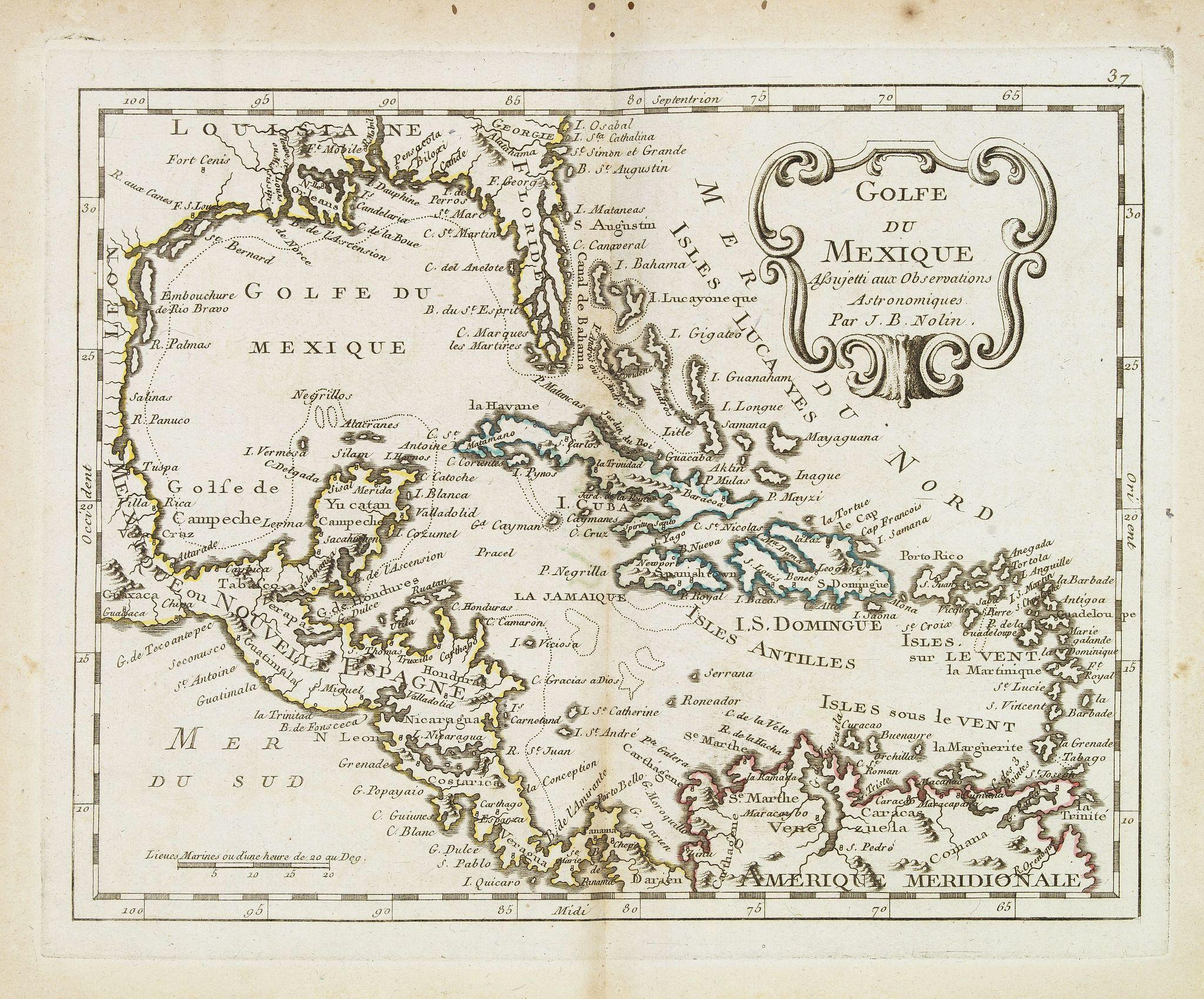 MONDHARE, L.J. / NOLIN, J.B. -  Golfe du Mexique Assujetti aux Observations Astronomiques Par J.B.Nolin.