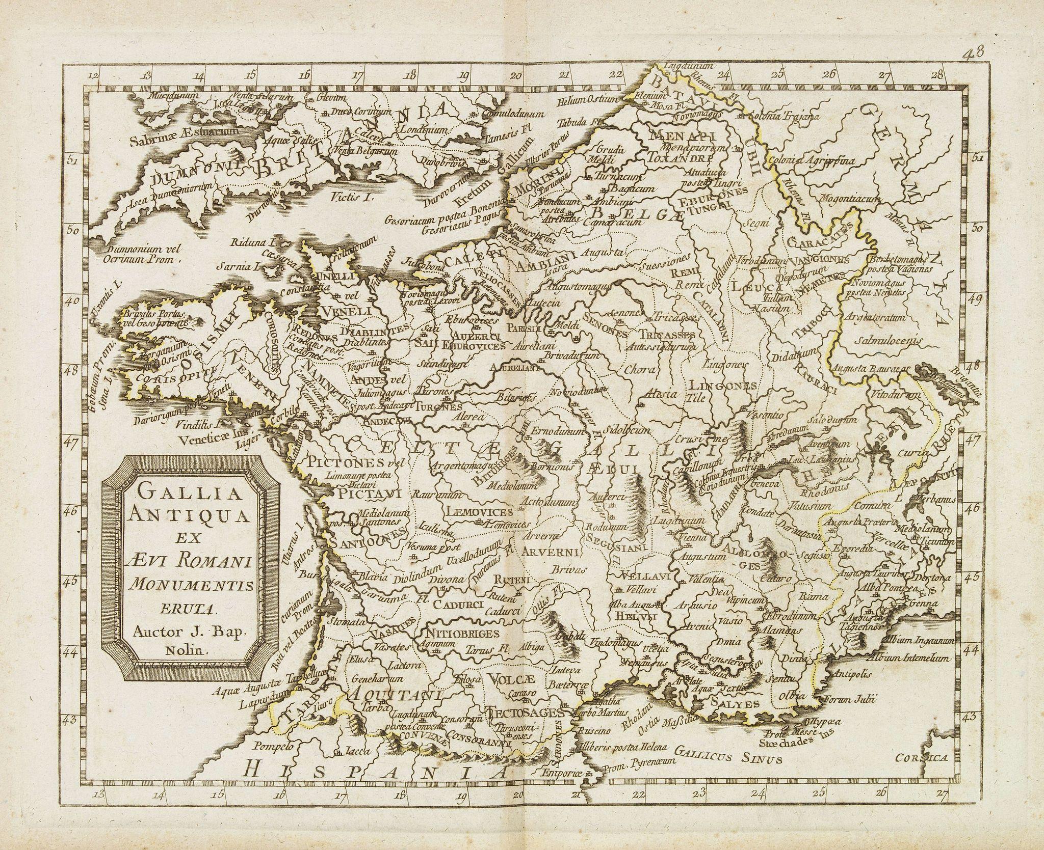 MONDHARE, L.J. / NOLIN, J.B. -  Gallia antiqua ex Aevi Romani monumentis eruta. . .