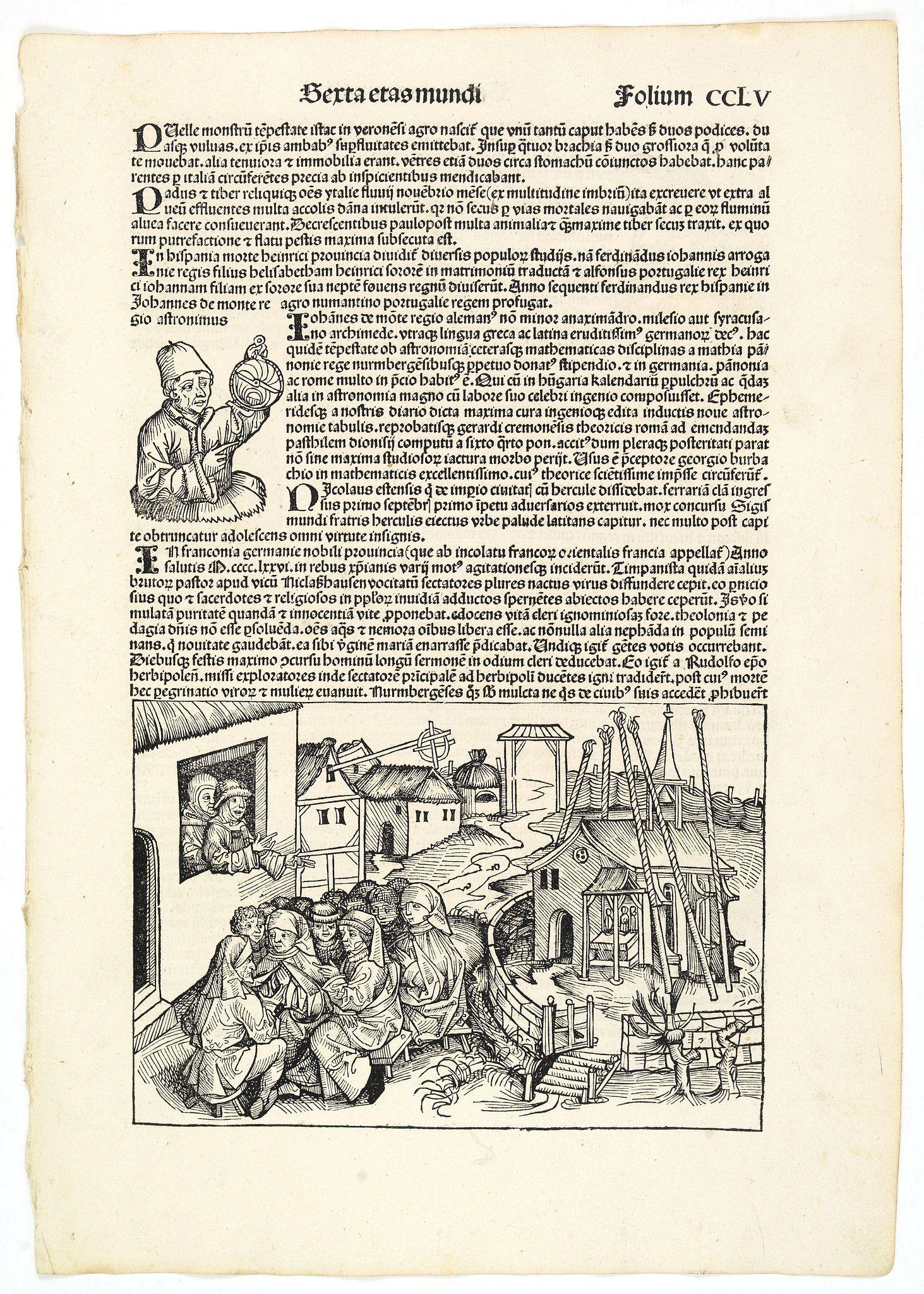 SCHEDEL, H. -  Sexta Etas Mudi. Folio CCLV. (With portret of Johannes Müller alias Regiomontanus holding a Astrolabe.