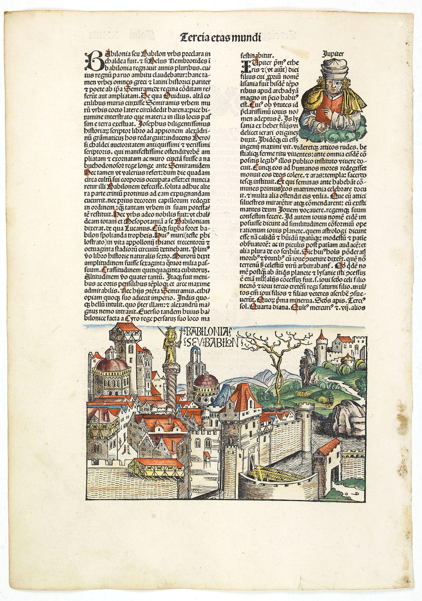 SCHEDEL, H. -  Tercia Etas Mudi. Babilonias. Folii XXIIII [Babylon]