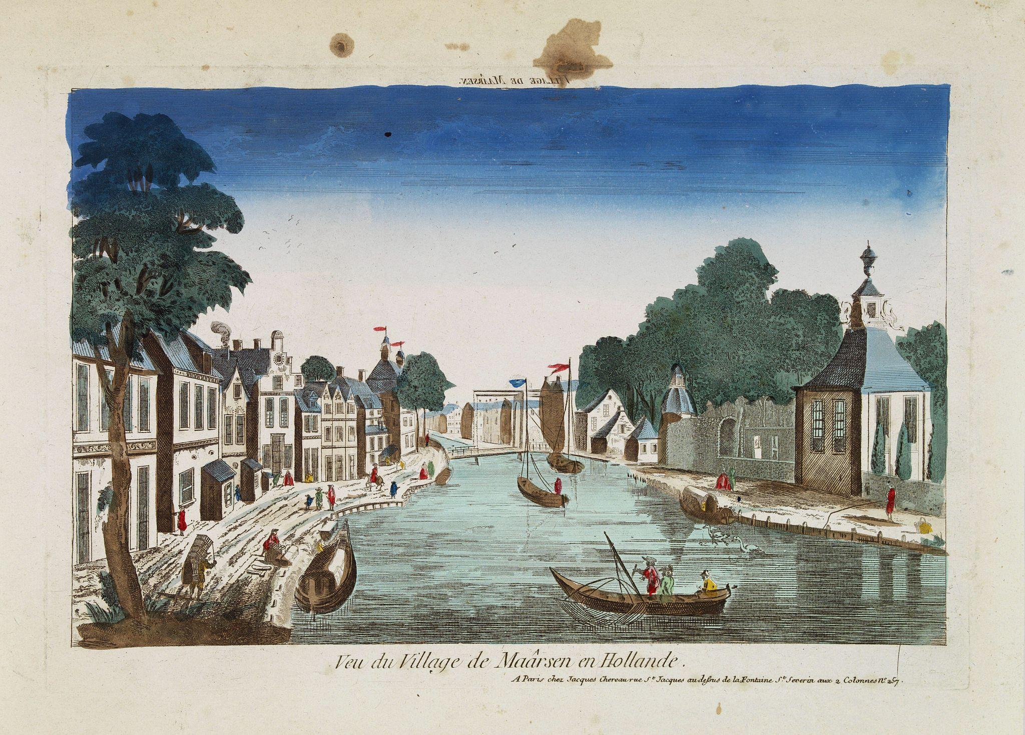 CHEREAU, J. -  Vue du village de Maarsen en Hollande.