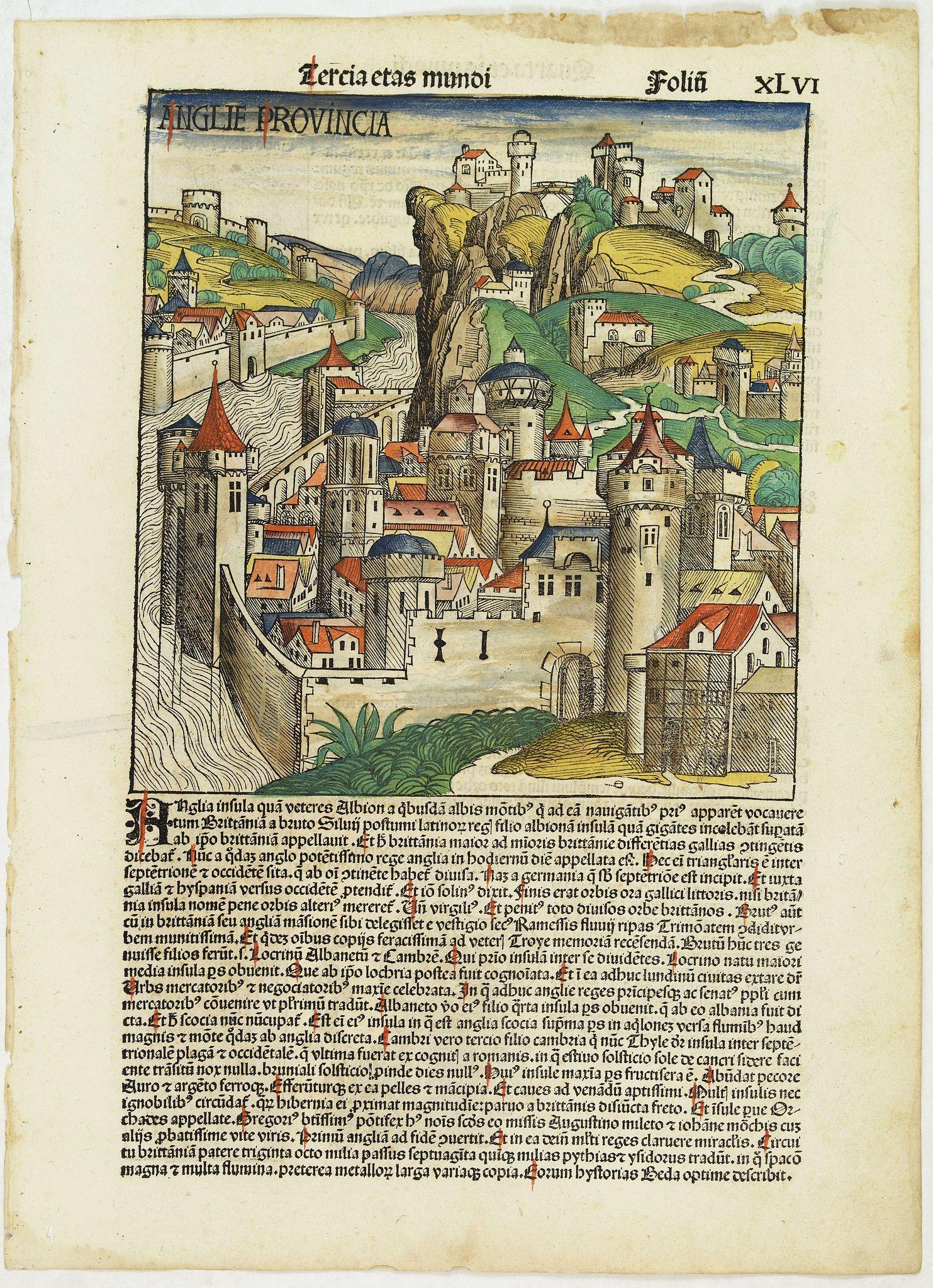SCHEDEL, H. -  Tercia Etas Mundi. Folium.XLVI (A English town view)