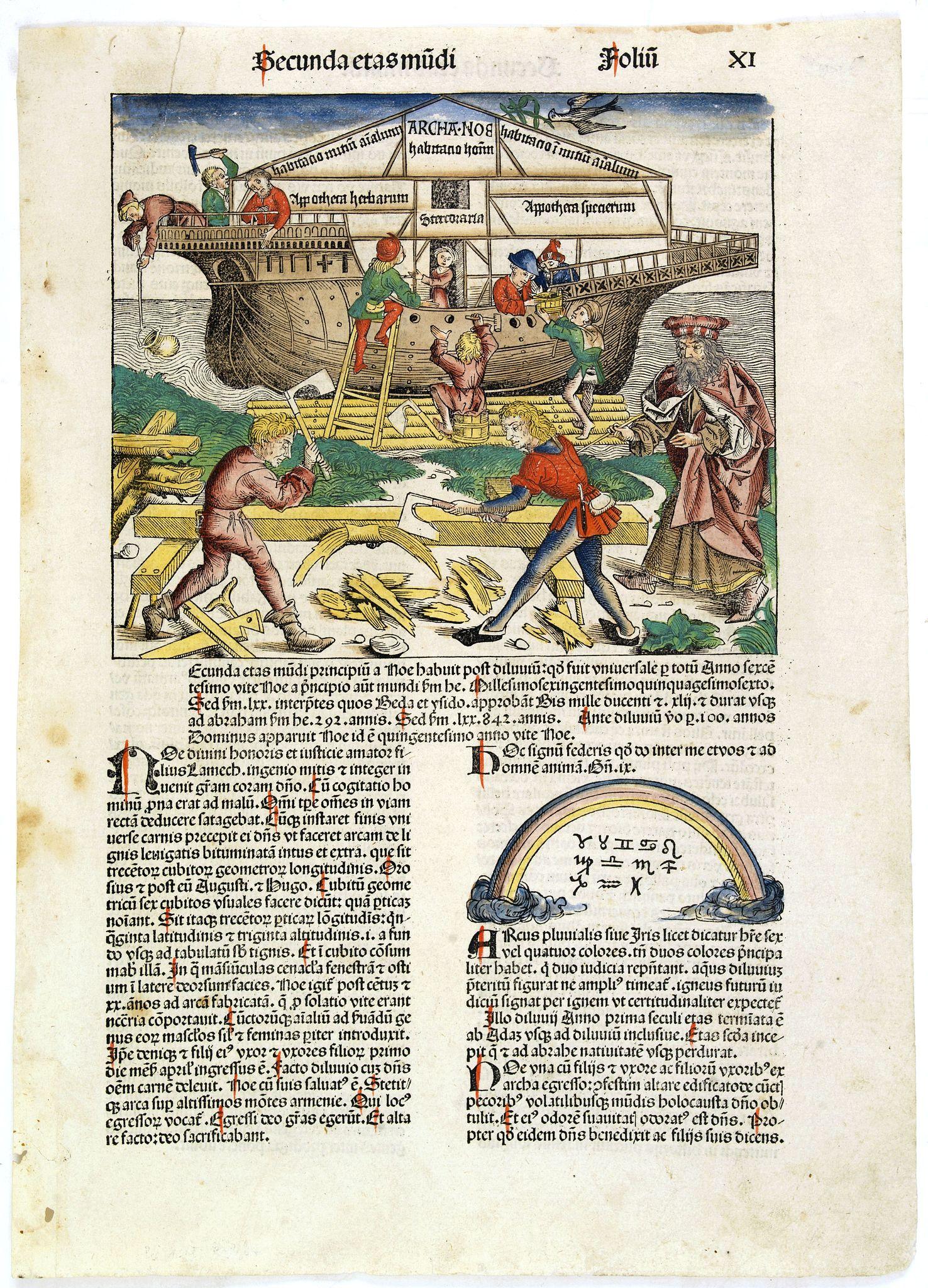 SCHEDEL, H. -  Secunda etas mudi [The arch of Noah]. Folio XI.