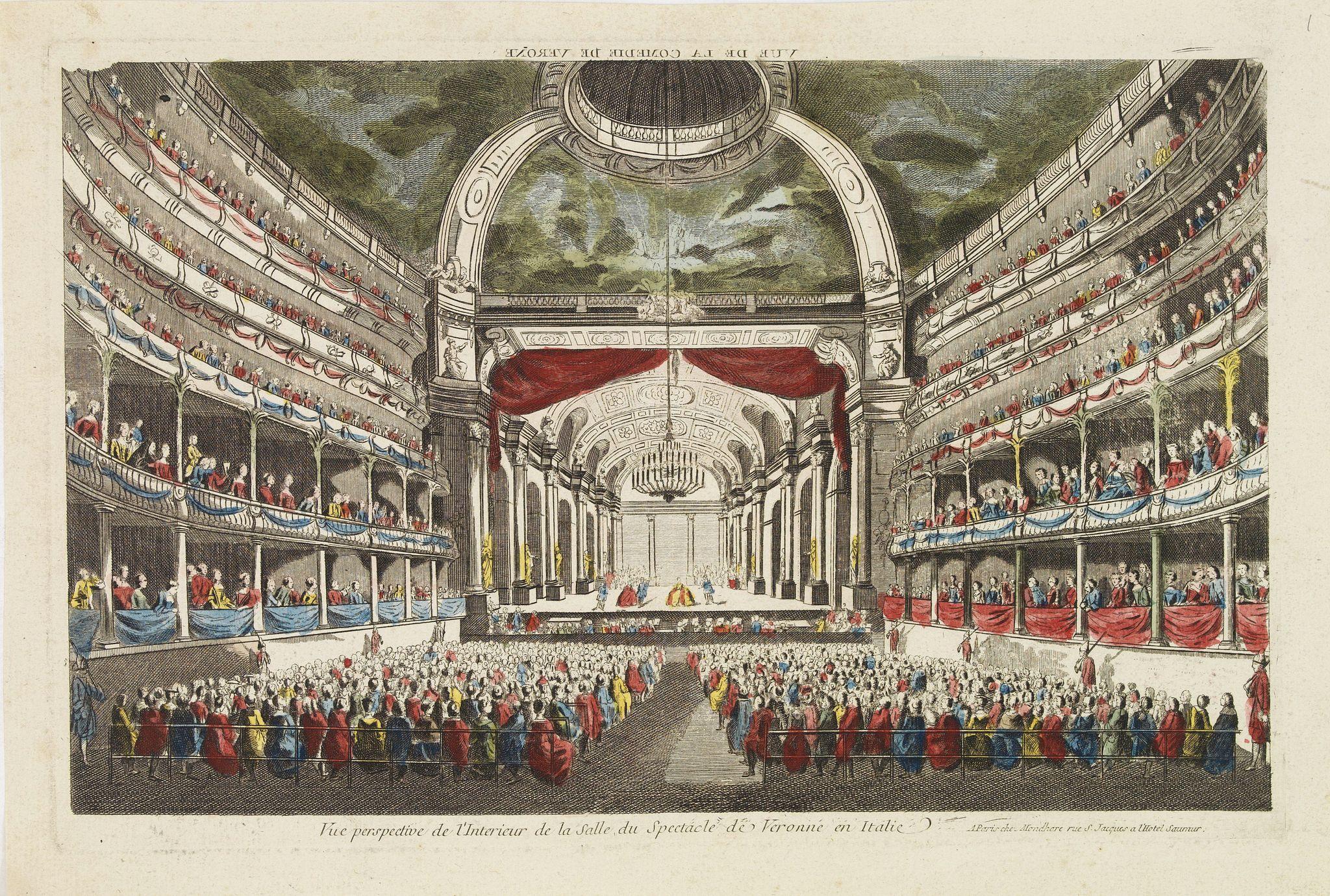 MONDHARE, J. -  Vue perspective de l'interieur de la Salle du spectacle de Veronne en Italie.
