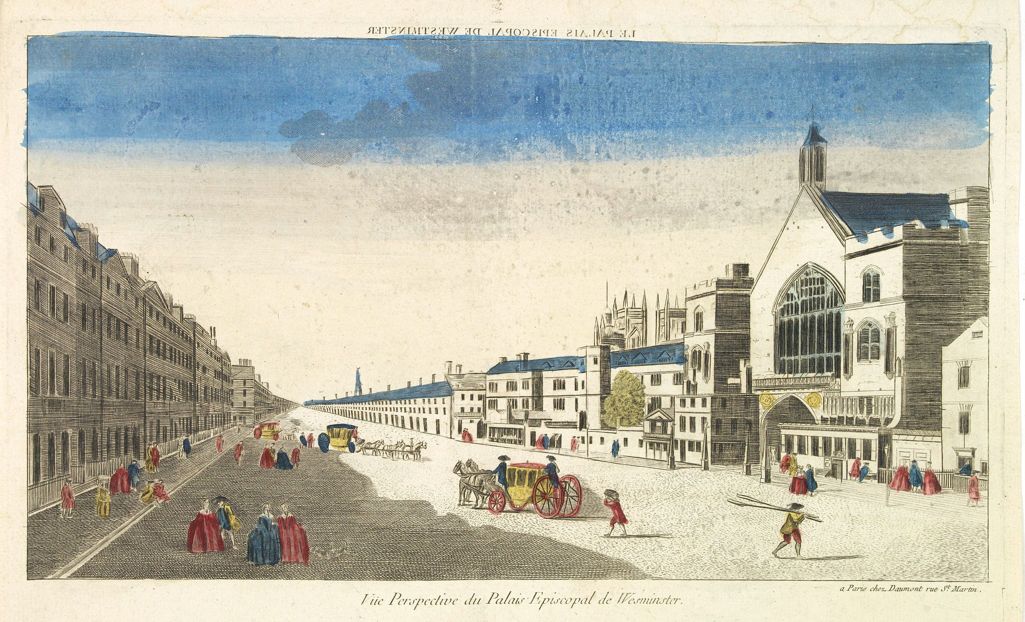 CHEREAU, J. -  Vue perspective du palais episcopal de Westminster.