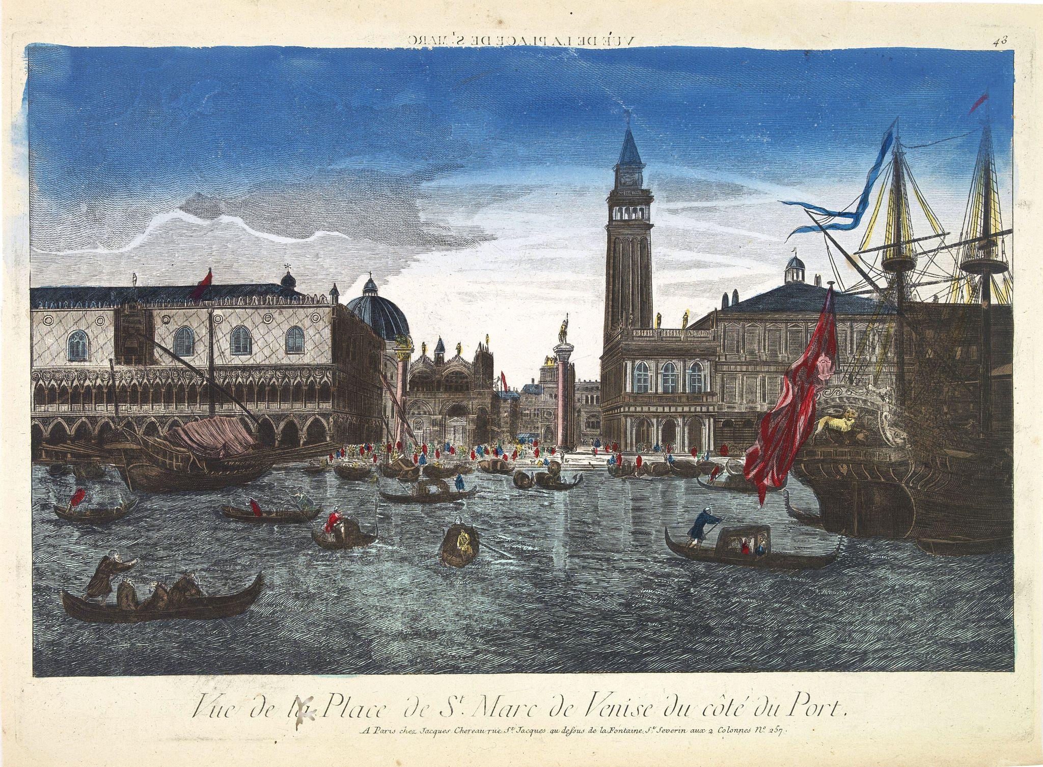 CHEREAU, J. -  Vue de la Place de St Marc de Venise du côté du port.