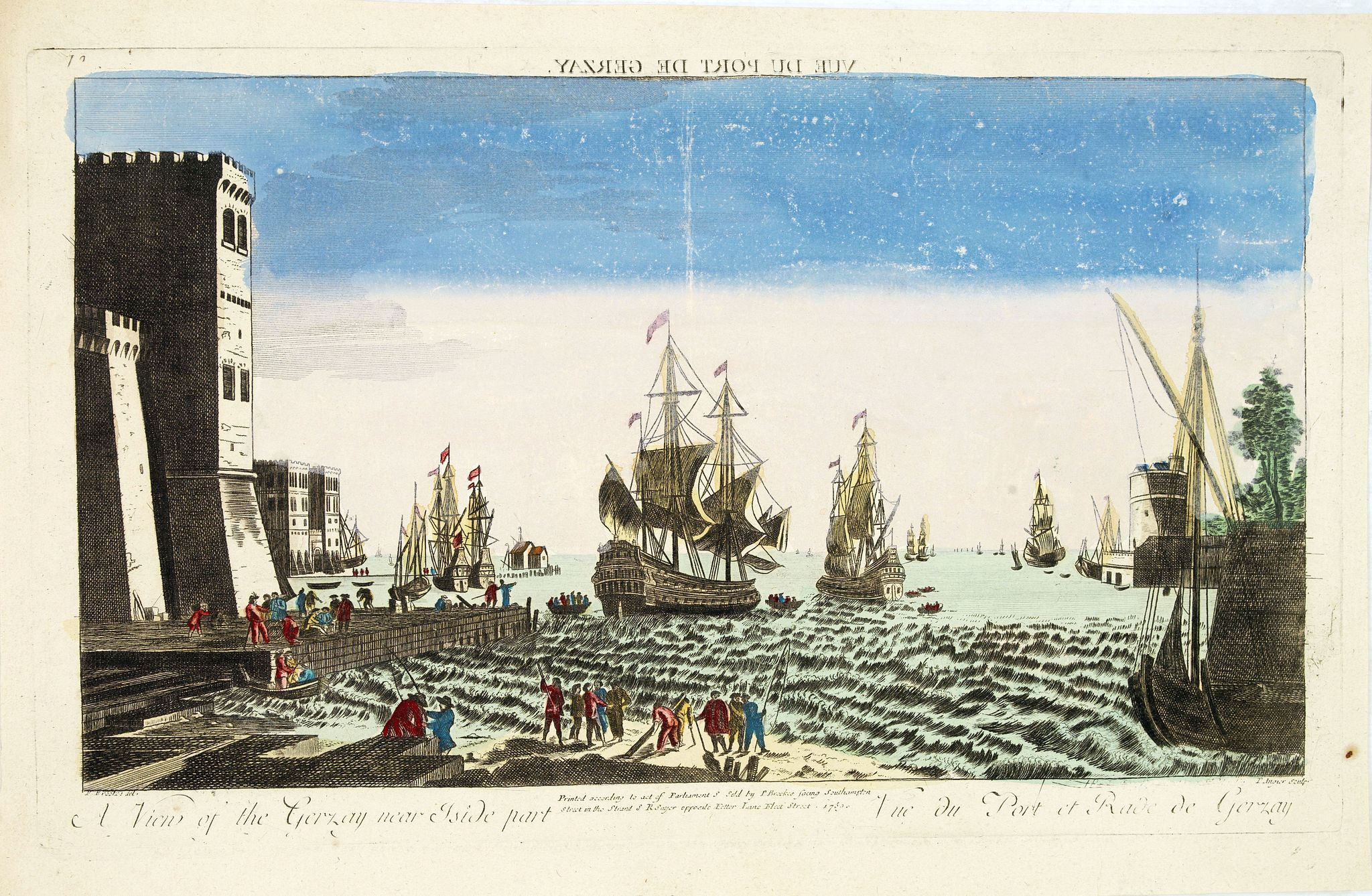 SAYER, R. -  A view of the Gerzay near Iside part. / Vue du port et rade de Gerzay.