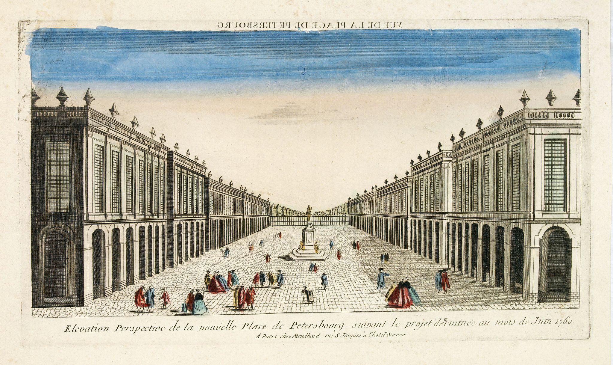 CHEREAU, J. -  Elevation perspective de la nouvelle place de Petersbourg suivant le projet . . .