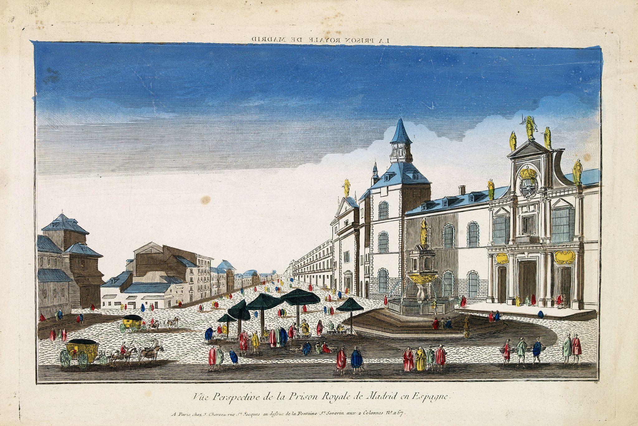 CHEREAU, J. -  Vue perspective de la prison royale de Madrid en Espagne . . .