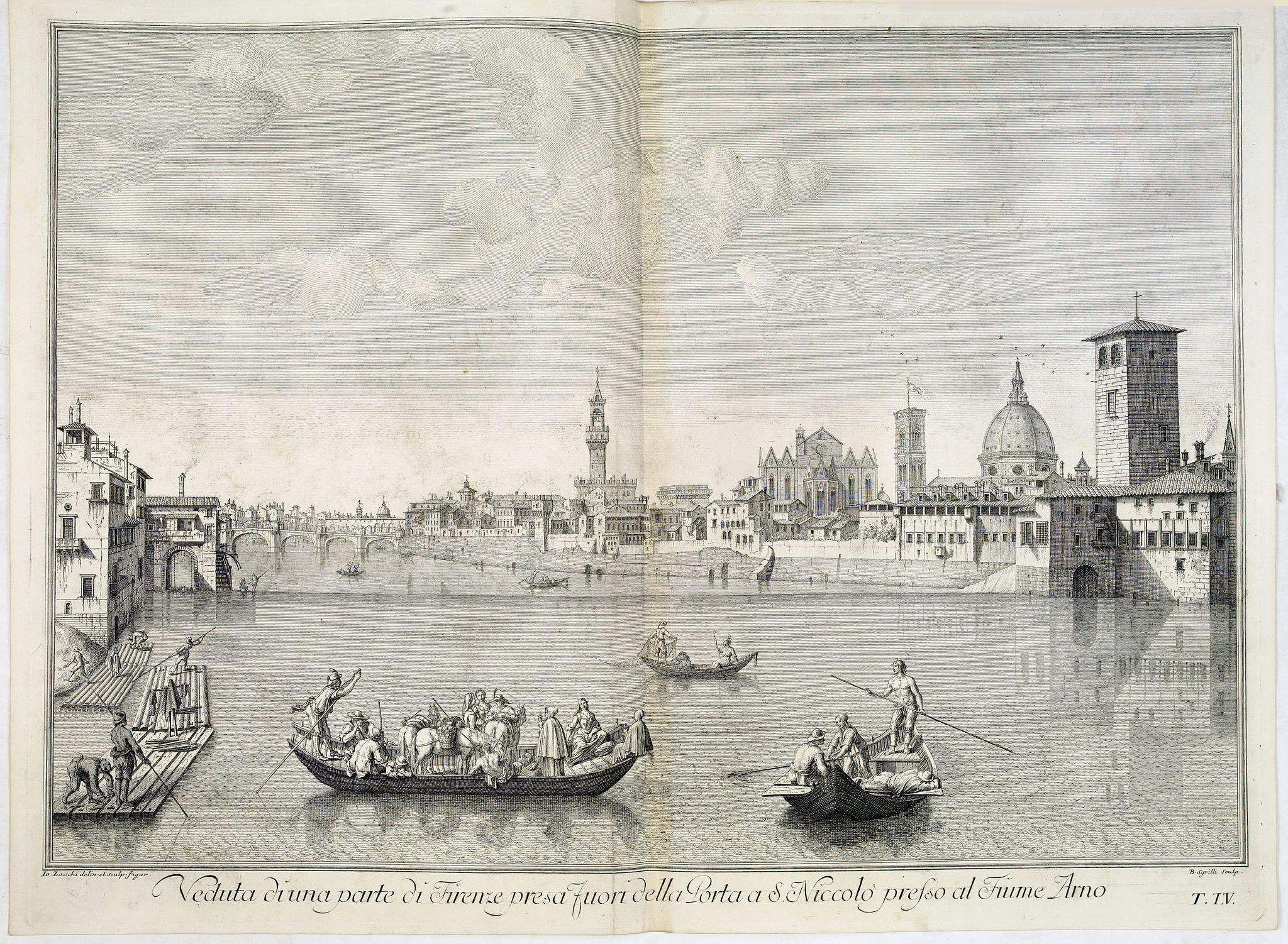 ZOCCHI, G. -  Veduta di una parte di Firenze presa fuori della Porta a S.Niccolo presso al Fiume Arno.