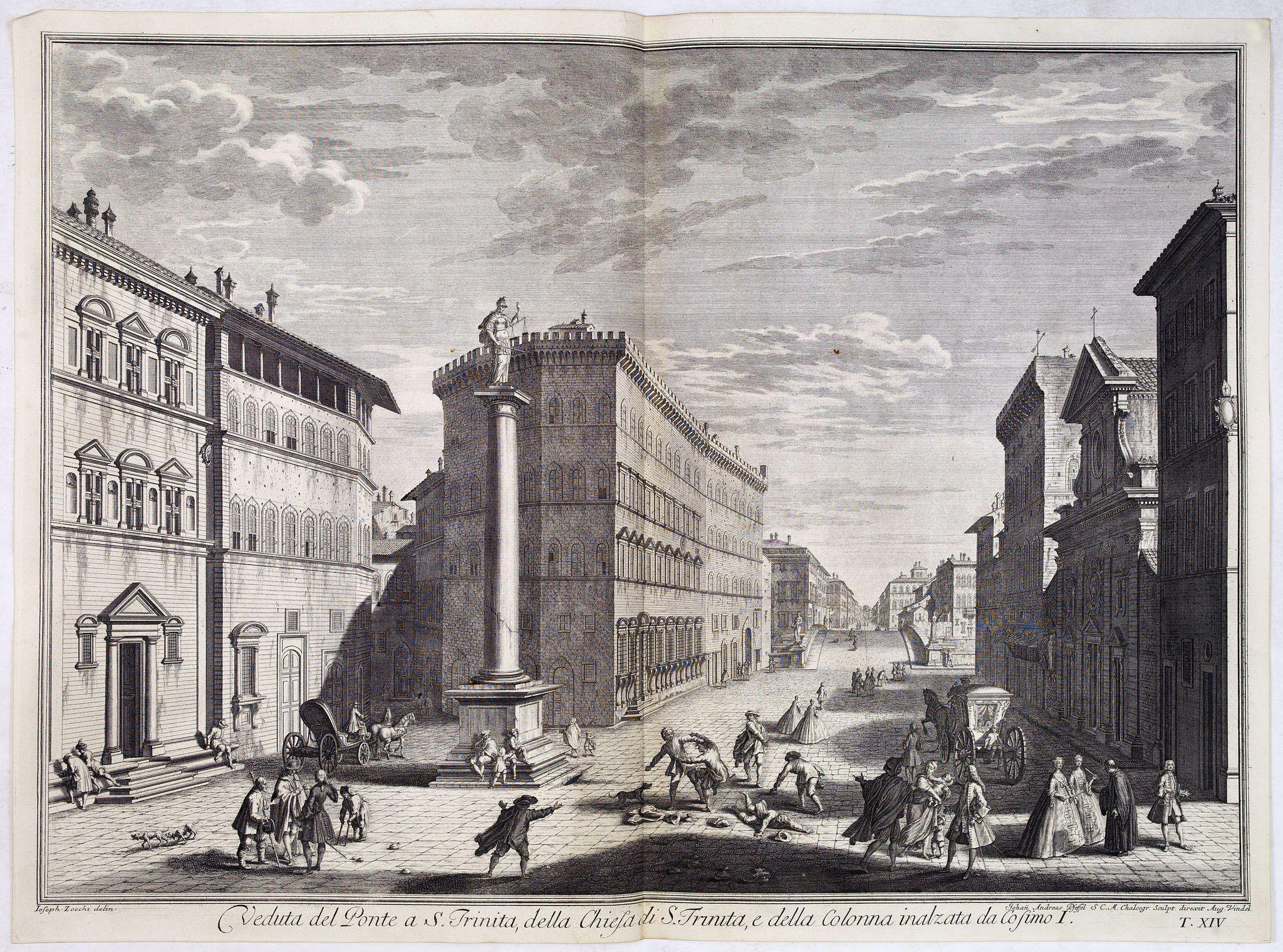 ZOCCHI, G. -  Veduta del Ponte a S. Trinita, della Chiesa di S. Trinita e della colonna inalzata da Cosimo I.