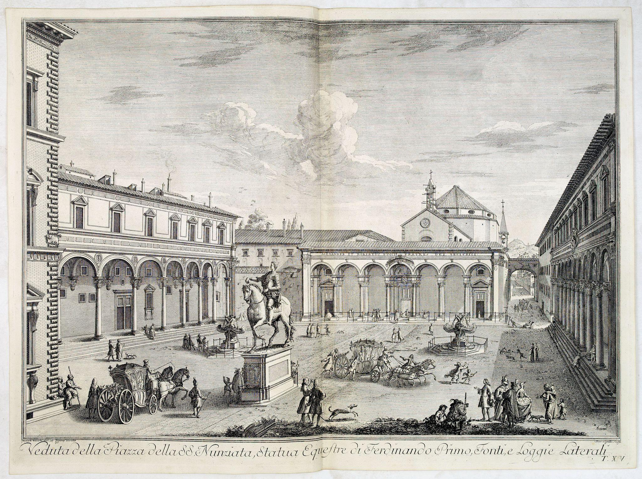ZOCCHI, G. -  Veduta della Piazza della SS. Nunziata, Statua Equestre di Ferdinando Primo, Fonti, e Loggie Laterali.