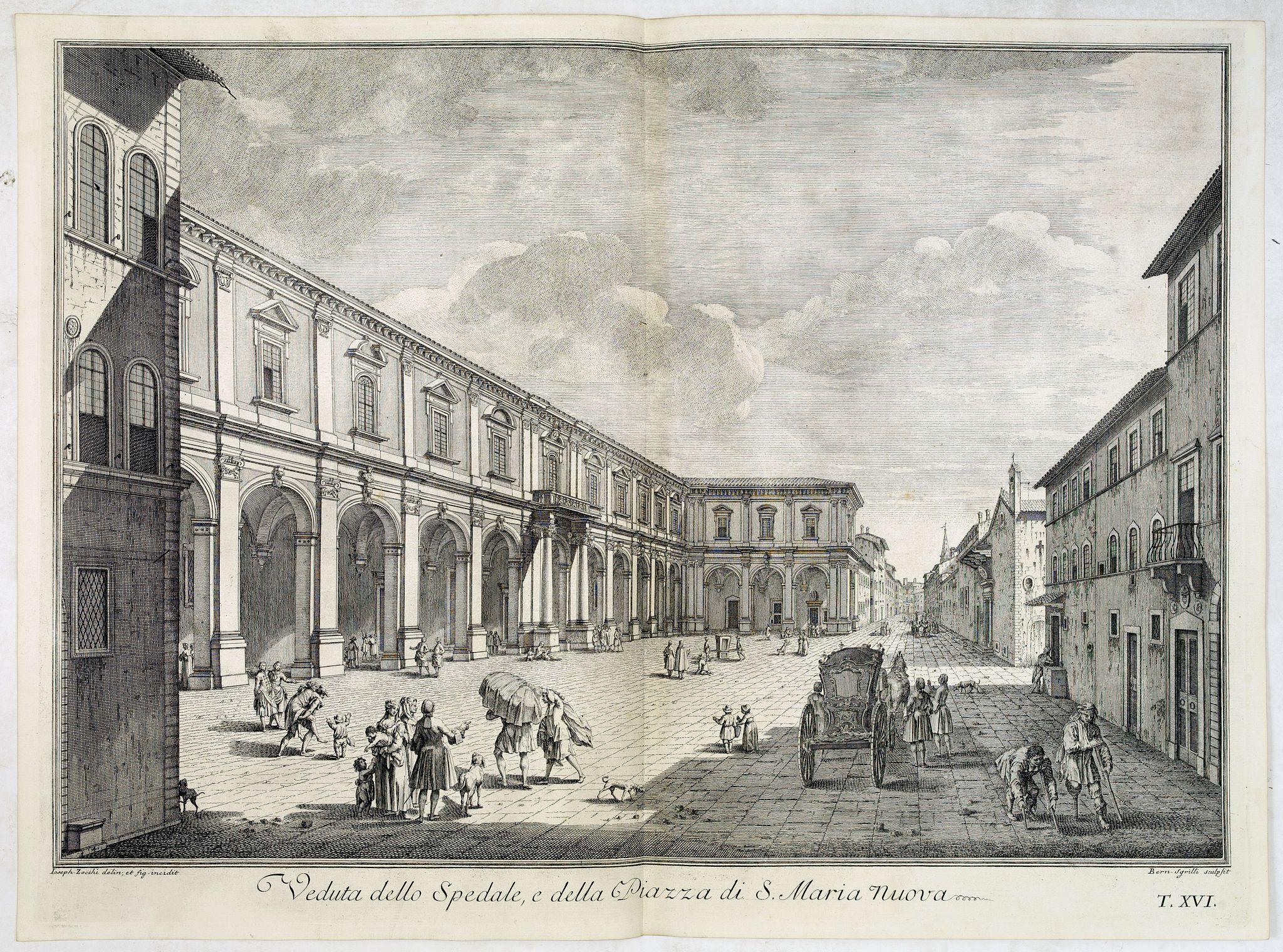 ZOCCHI, G. -  Veduta dello Spedale, e della Piazza di S. Maria Nuova.
