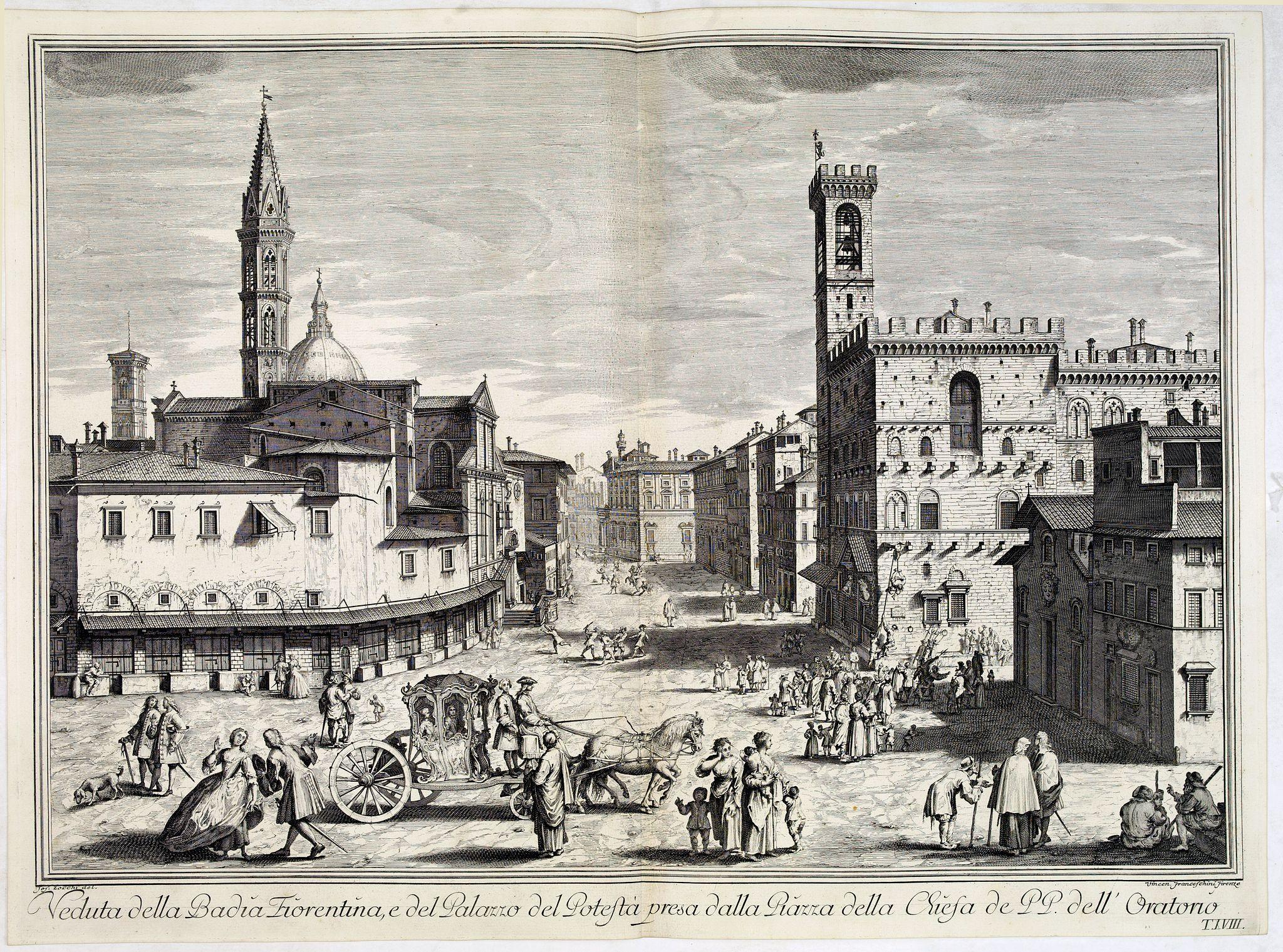ZOCCHI, G. -  Veduta della Badia Fiorentina, e del Palazzo del Potestà presa dalla Piazza della Chiesa de' PP. dell'Oratorio.