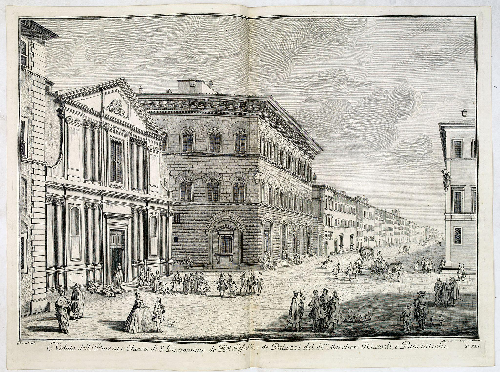 ZOCCHI, G. -  Veduta della Piazza, e Chiesa di S. Giovannino de' PP. Gesuiti, e de' Palazzi de' SS.ri Marchese Riccardi, e Panciatichi.