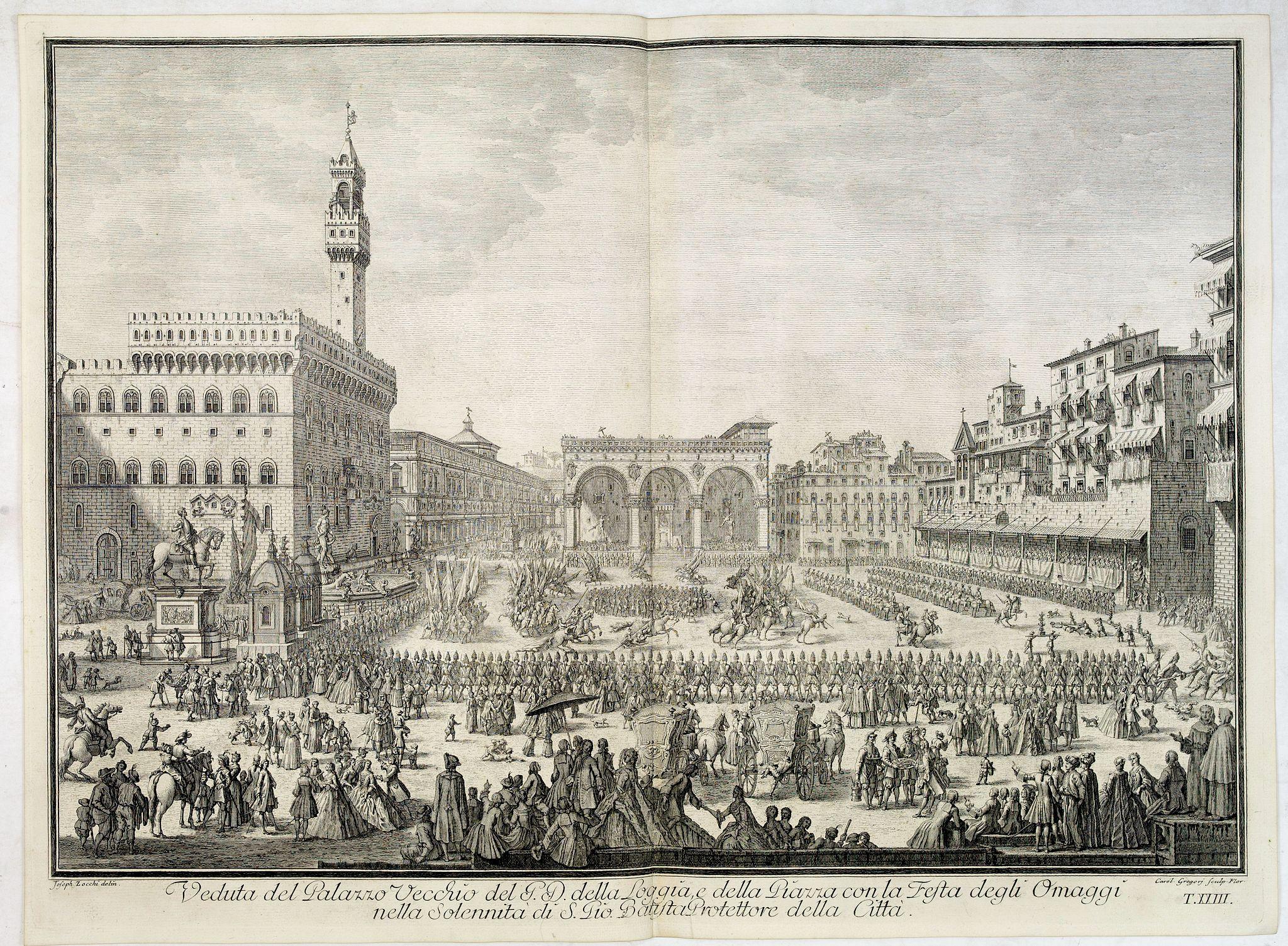 ZOCCHI, G. -  Veduta del Palazzo Vecchio del P.D. della Loggia e della Piazza con la Festa degli Omaggi nella solennità di S. Gio. Battista protettore della Città.