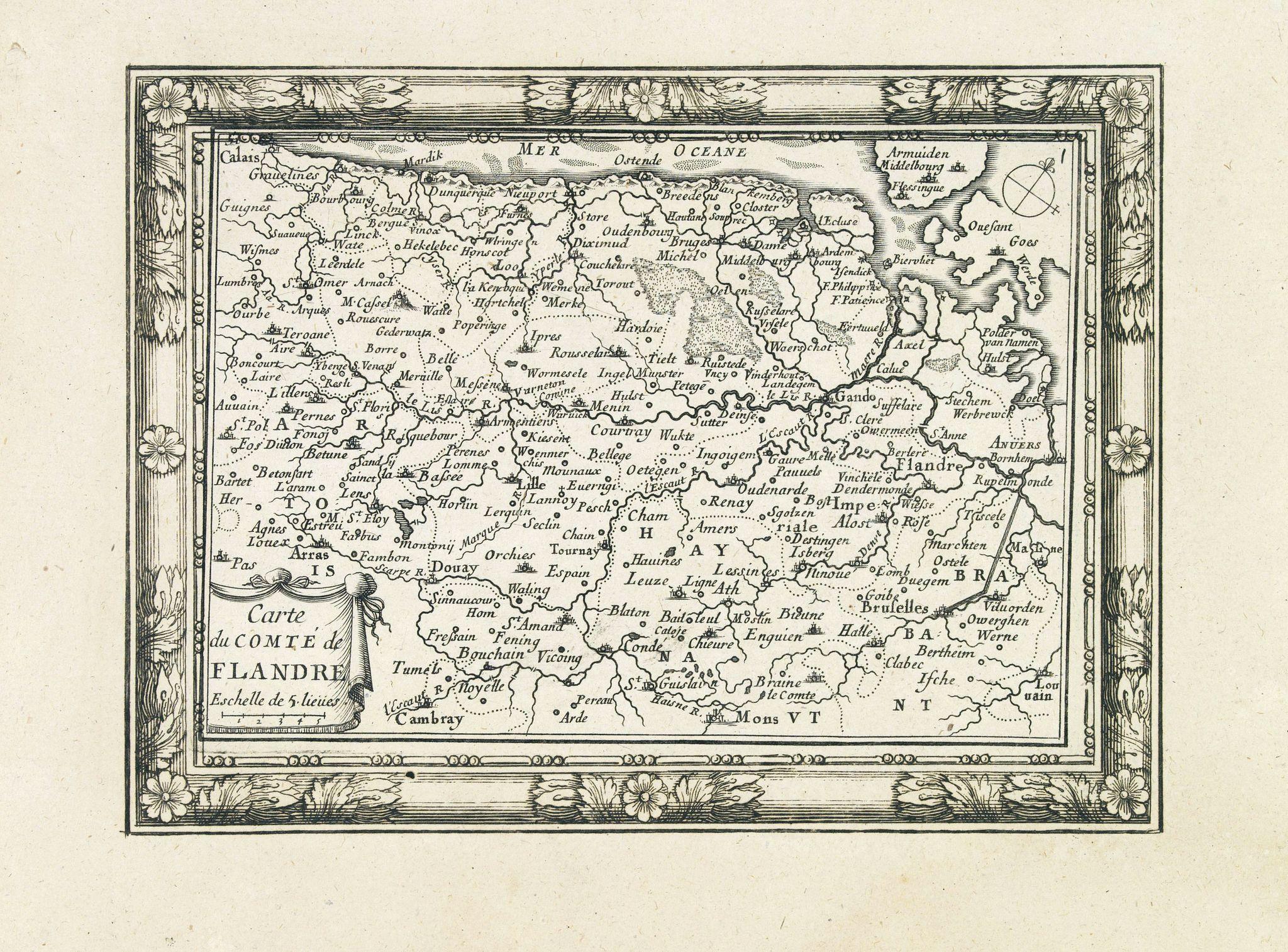 DE BEAULIEU, Ch. -  Carte du Comté de Flandre. . .