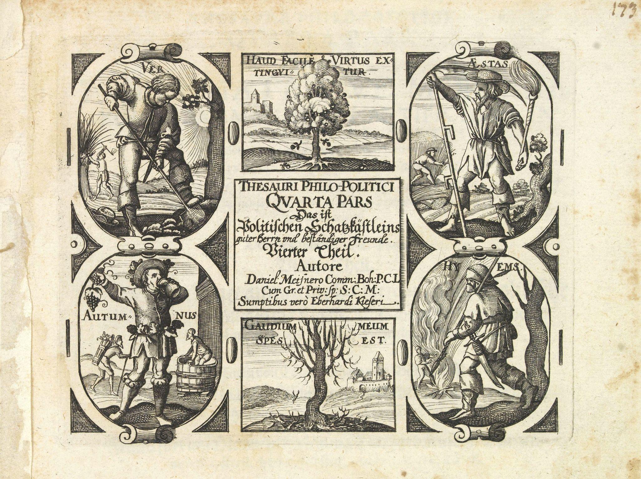 MEISNER, D. -  [Title page] Thesauri Philo-Politci Quarta pars. . .
