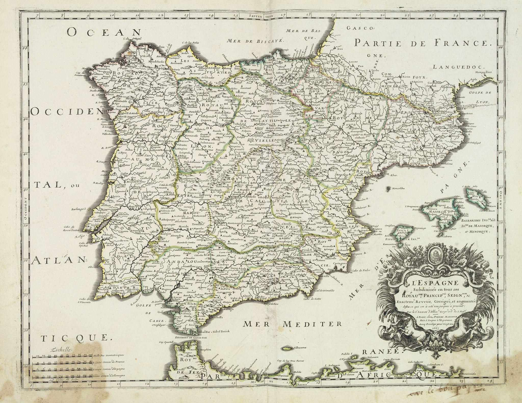 SANSON,N./ MARRIET,P. -  L'Espagne subdivisée en tous ses royaumes, princip[au]tés, seign[eu]ries. . .