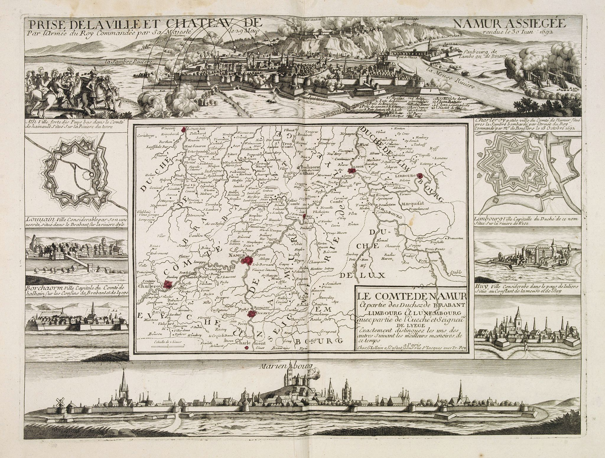 JOLLAIN, F.,  Le comte de Namur et partie des Duchez de Brabant. . ., antique map, old maps