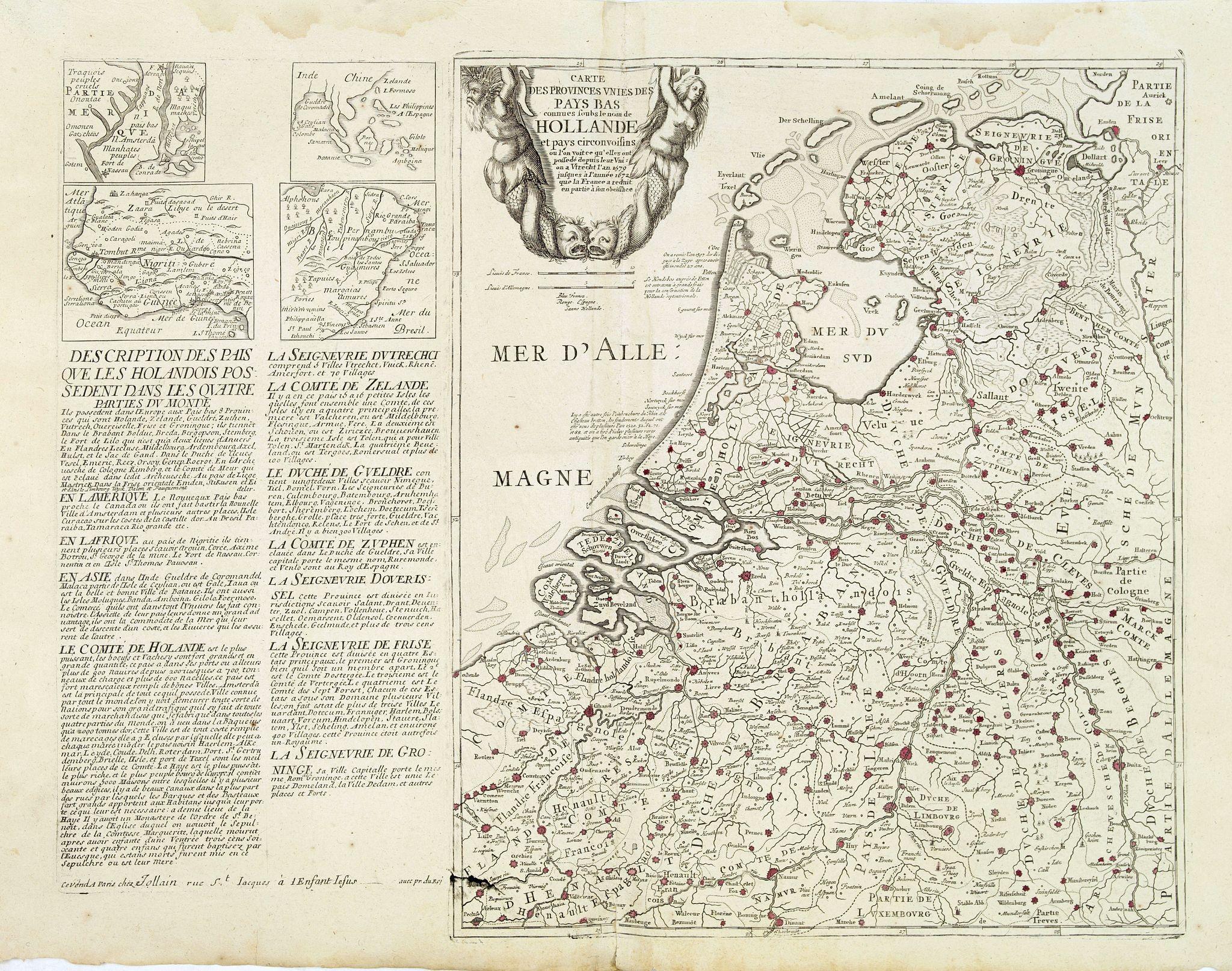 JOLLAIN, F. - Cartes des provinces unies des Pays Bas connues sous les nom de Hollande. . .