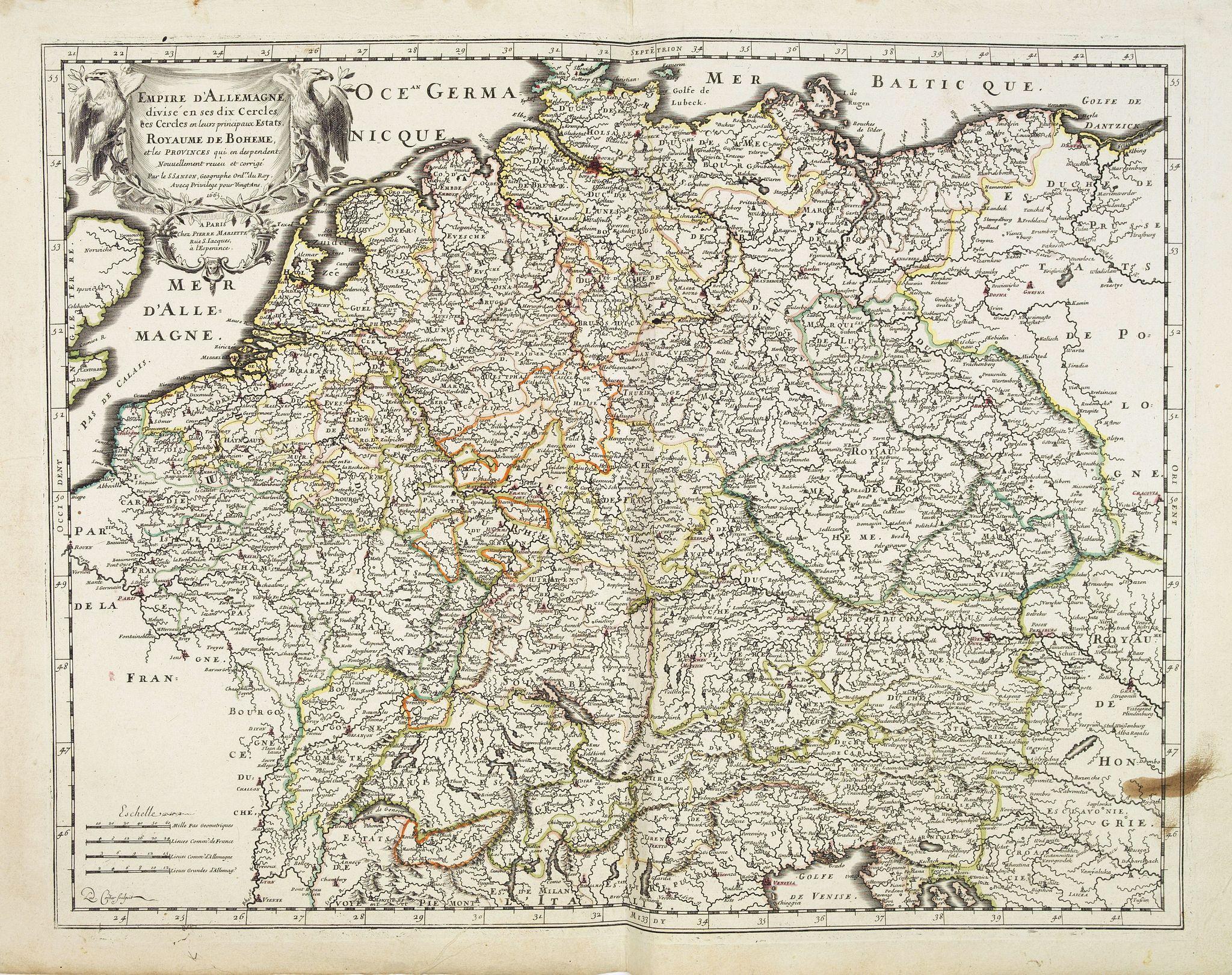 SANSON, N./ MARIETTE, P. -  Empire d'Allemagne, divisé en ses dix Cercles … Royaume de Boheme…
