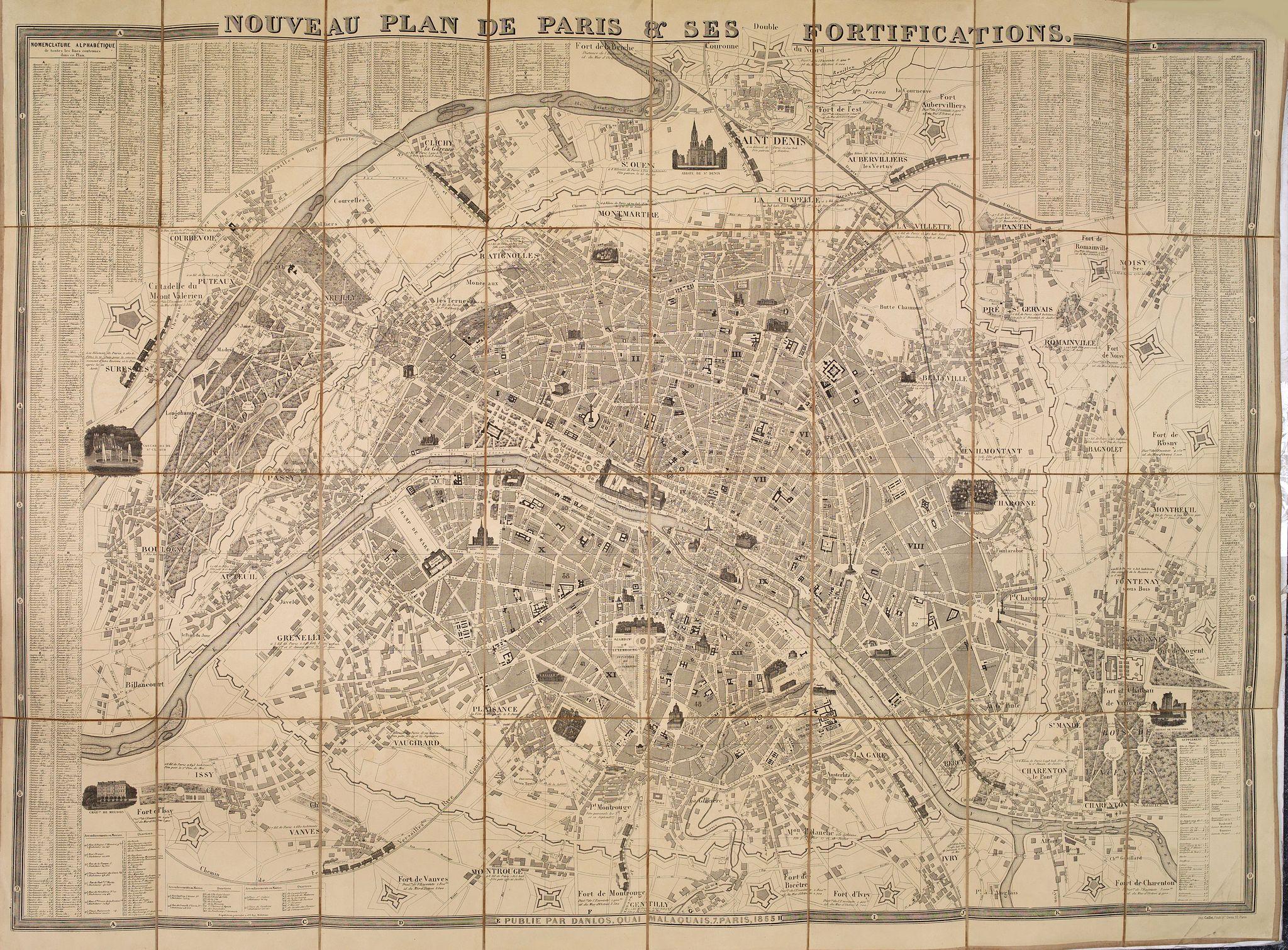 DANLOS -  Nouveau plan de Paris & ses fortifications.