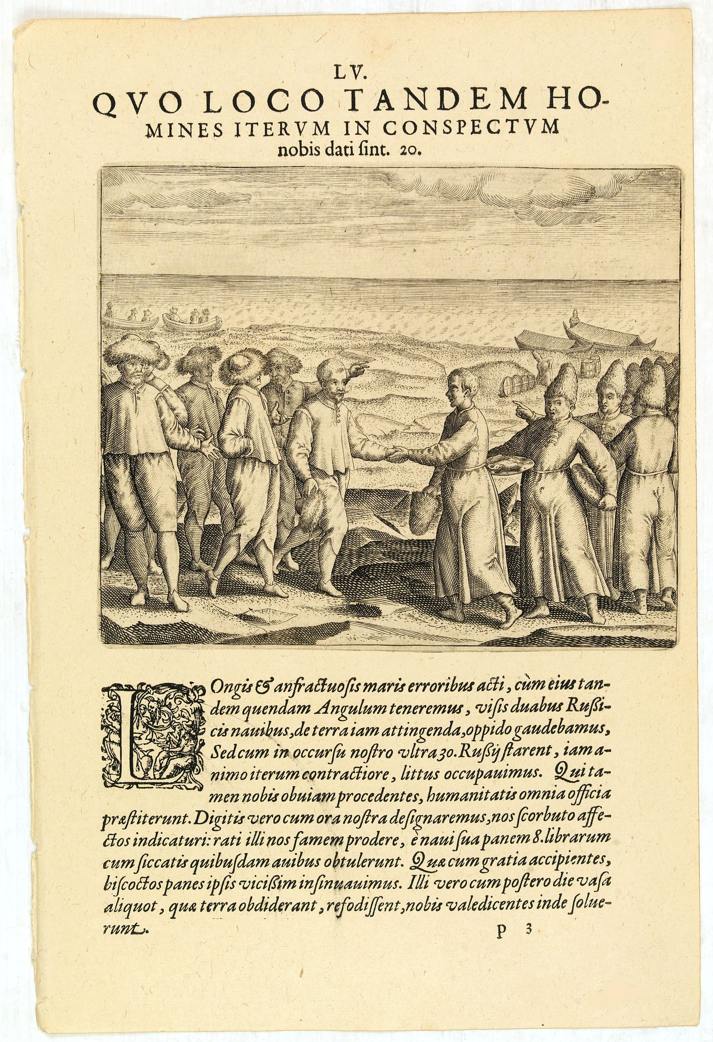 DE BRY, Th. -  LV. Quo loco tandem homines iterum in conspectum nobis dati sint 20. (The third Dutch artic voyage by W.Barentsz.)