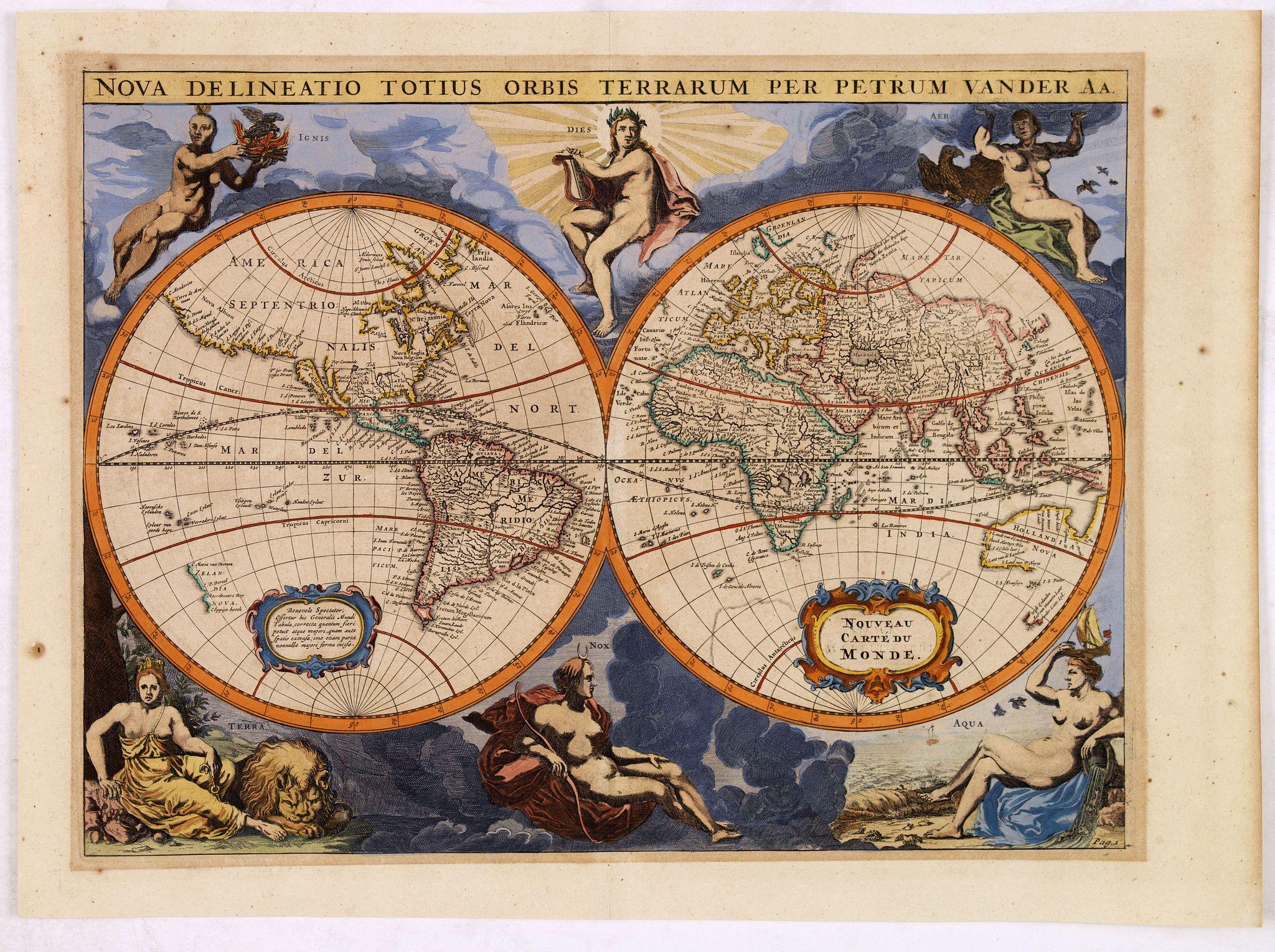 VAN DER AA, P. - Nova Delineatio Totius Orbis Terrarum Per Petrum Vander Aa.