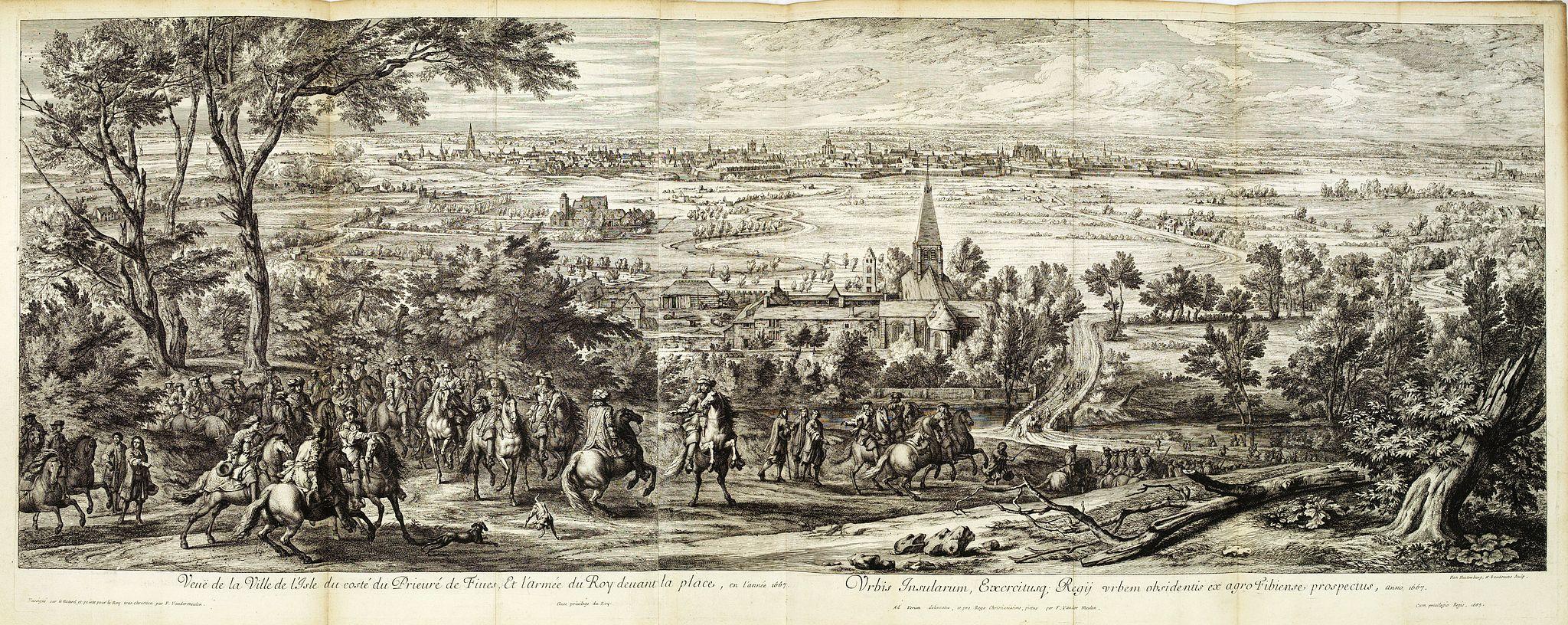MEULEN, Adam Frans van der. -  Veue de Leuve, place très-forte dans le Brabant, située au milieu d'un marais, attaquée et forcée de nuit par les François en l'année 1678. . .