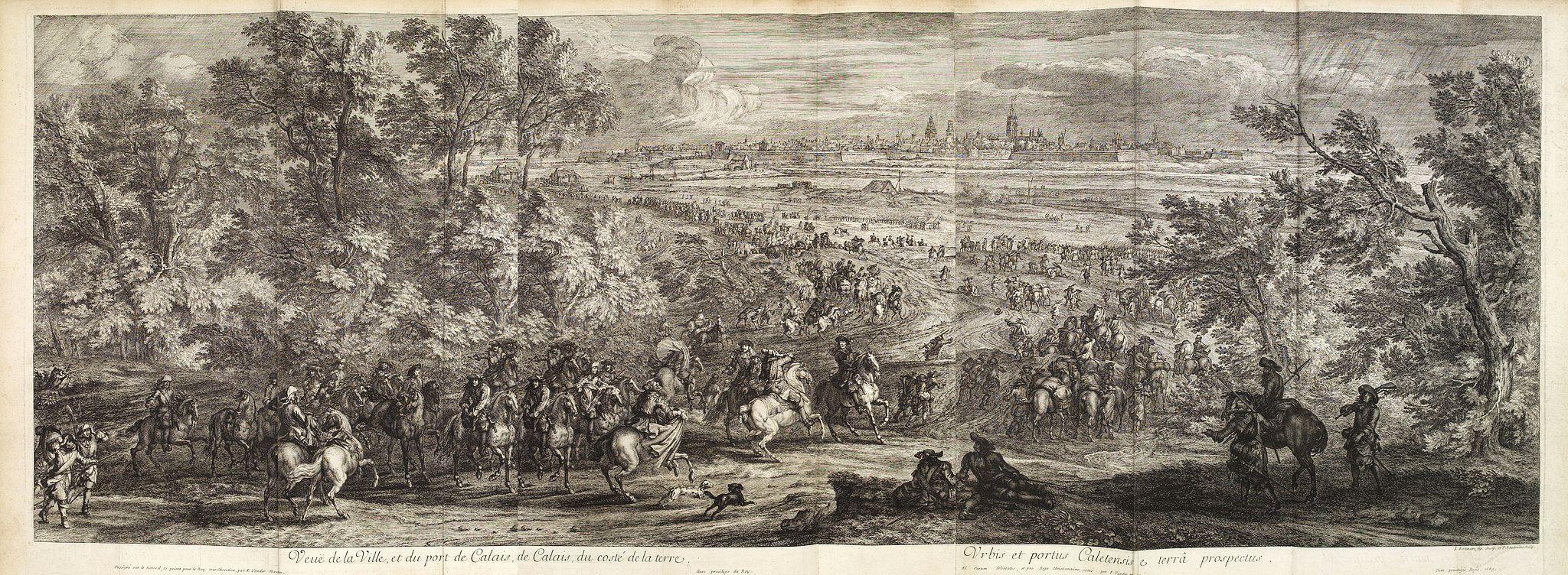 MEULEN, Adam Frans Van der. -  Veue de la Ville, et du Port de Calais, di côte de la terre.