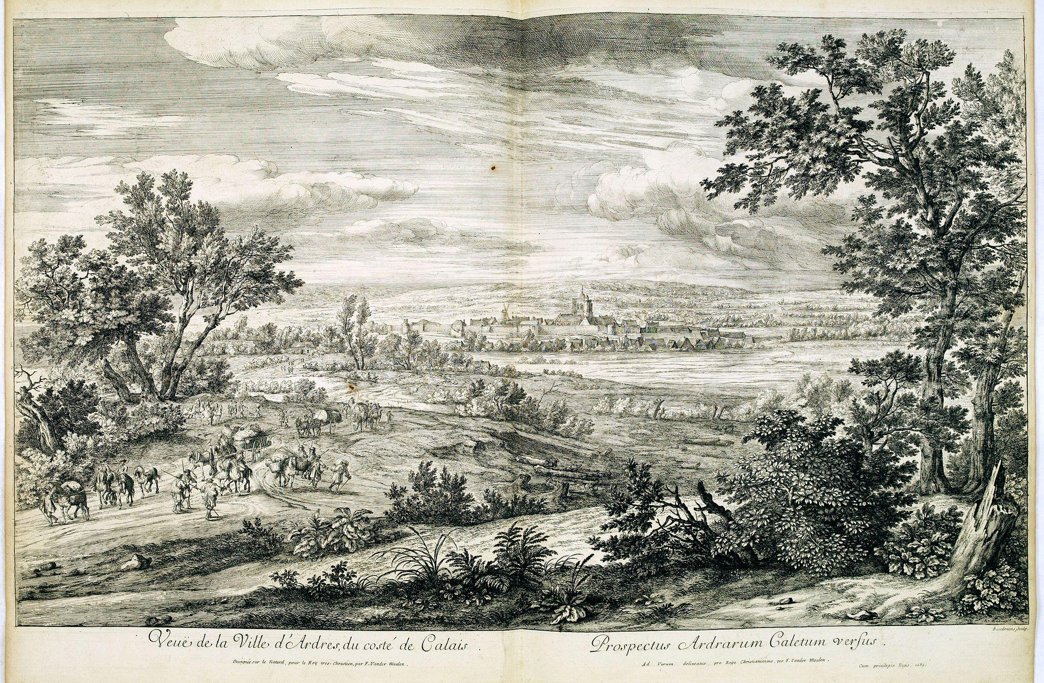 MEULEN, Adam Frans van der. -  Veuë de la Ville d'Ardres du costé de Calais.