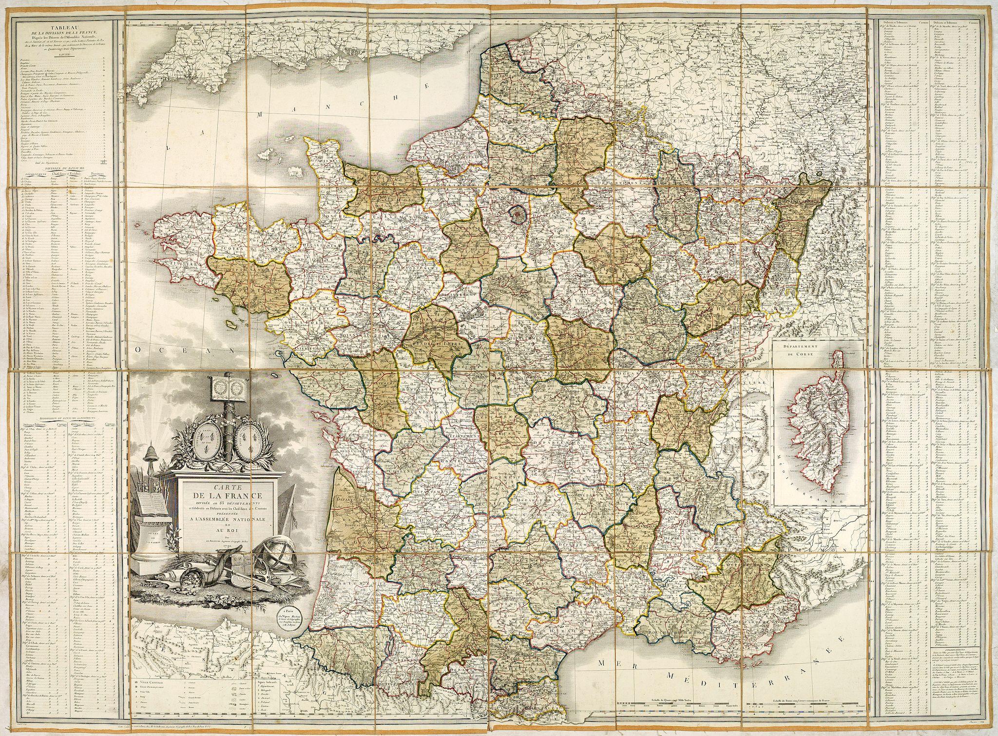BELLEYME, P. de. -  Carte de la France Divisée en 83 Départements et Subdivisée en districts avec les Chefs-lieux de Cantons Présentée à l