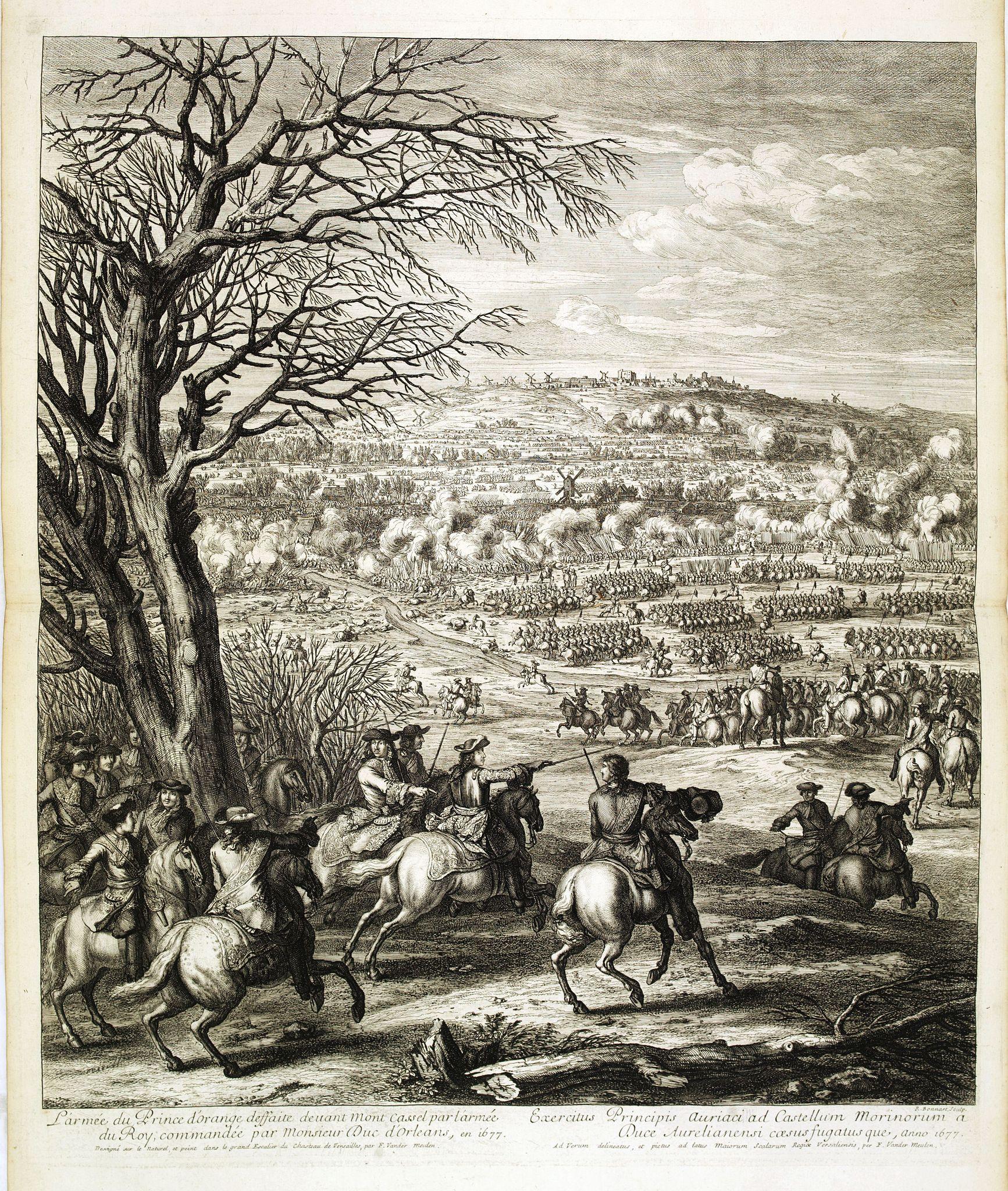 MEULEN, Adam Frans van der. -  L'armée du Prince d'Orange deffaite devant Mont Cassel par l'armée du Roy, commandée par Monsieur Duc d'Orléans, en 1677.
