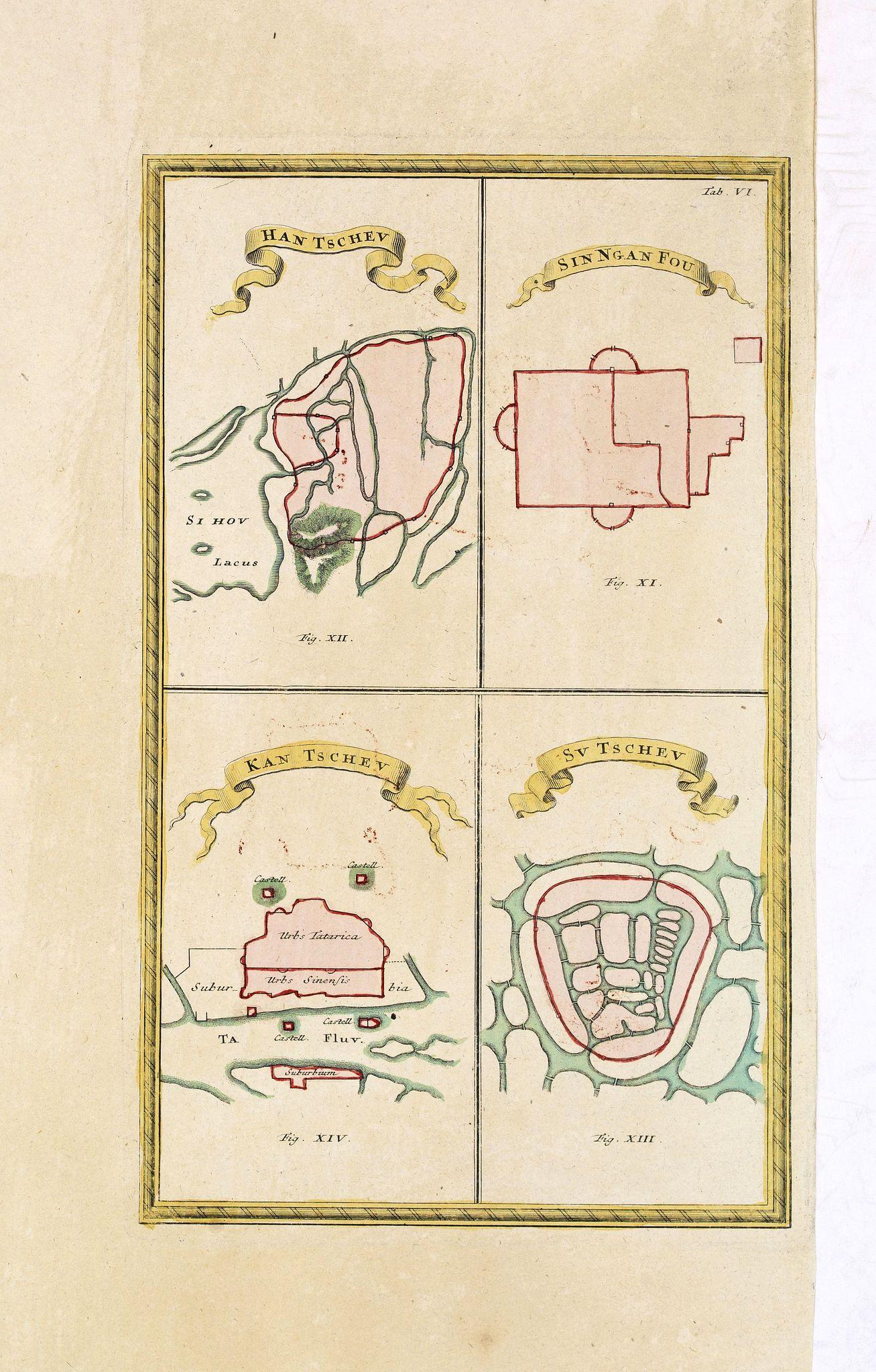 HASE, J, M. -  [ Four plans on one sheet] Han Tscheu, Sinngan Fou (Singapore??), Kan Tscheu and Su Tscheu.