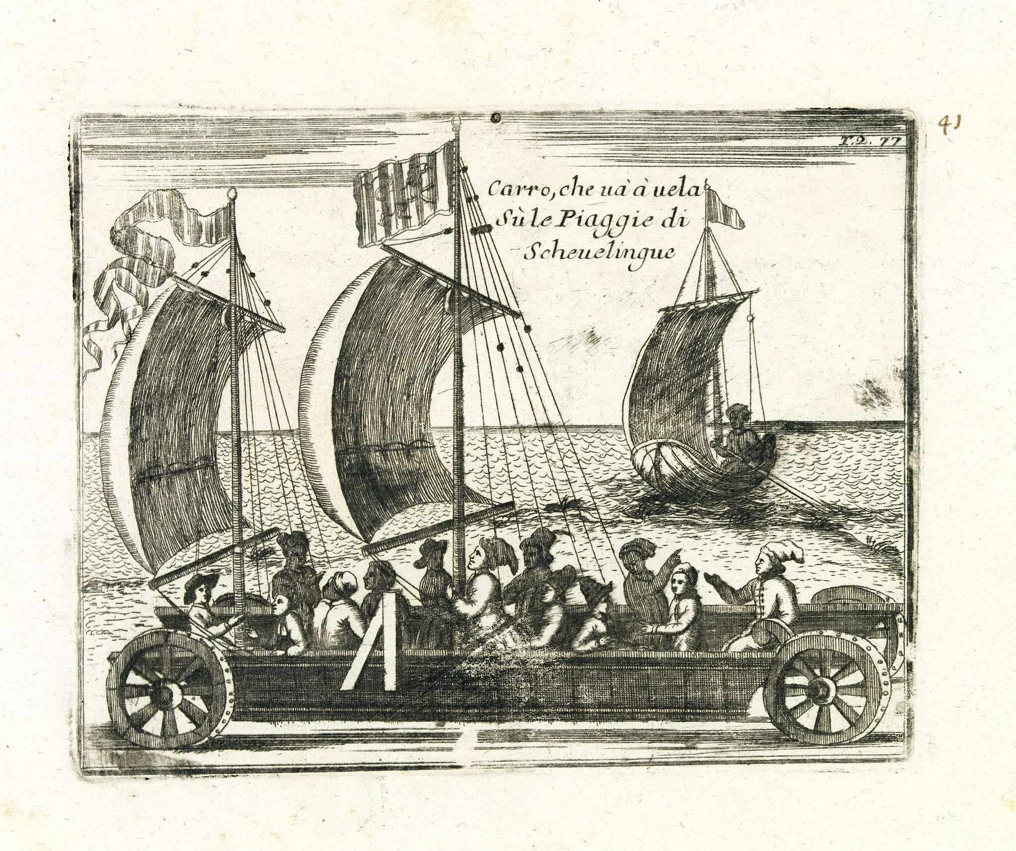 CORONELLI, V. -  Carro, che uà à vela Su le Piagge di Schevelingue.