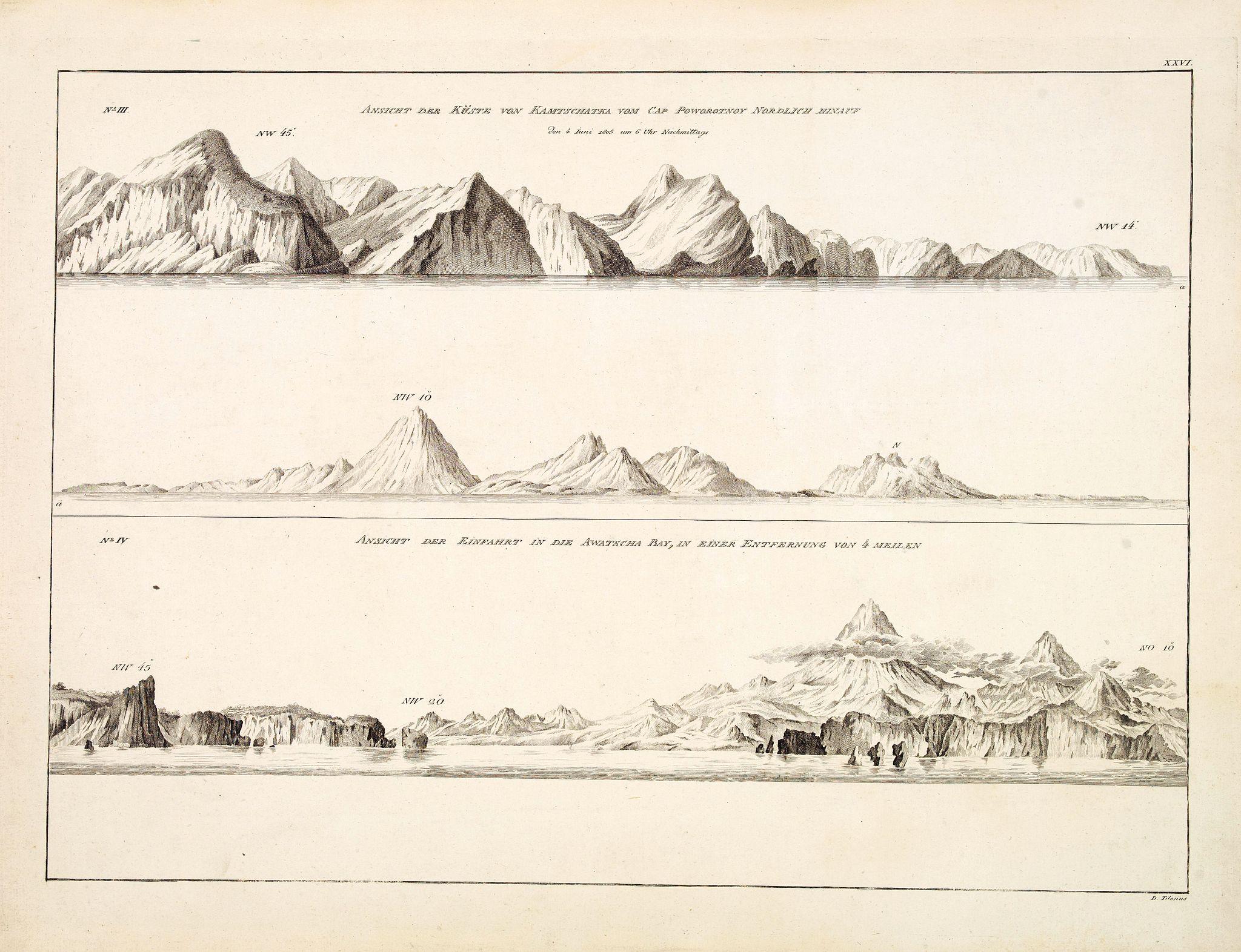 KRUSENSTERN, A.J. -  Ansicht der Küste von Kamtschatka vom Cap Poworotnoy Nordlich hinauf - Ansicht der Einfahrt in die Awatscha Bay, in einer entfernung von 4 meilen.