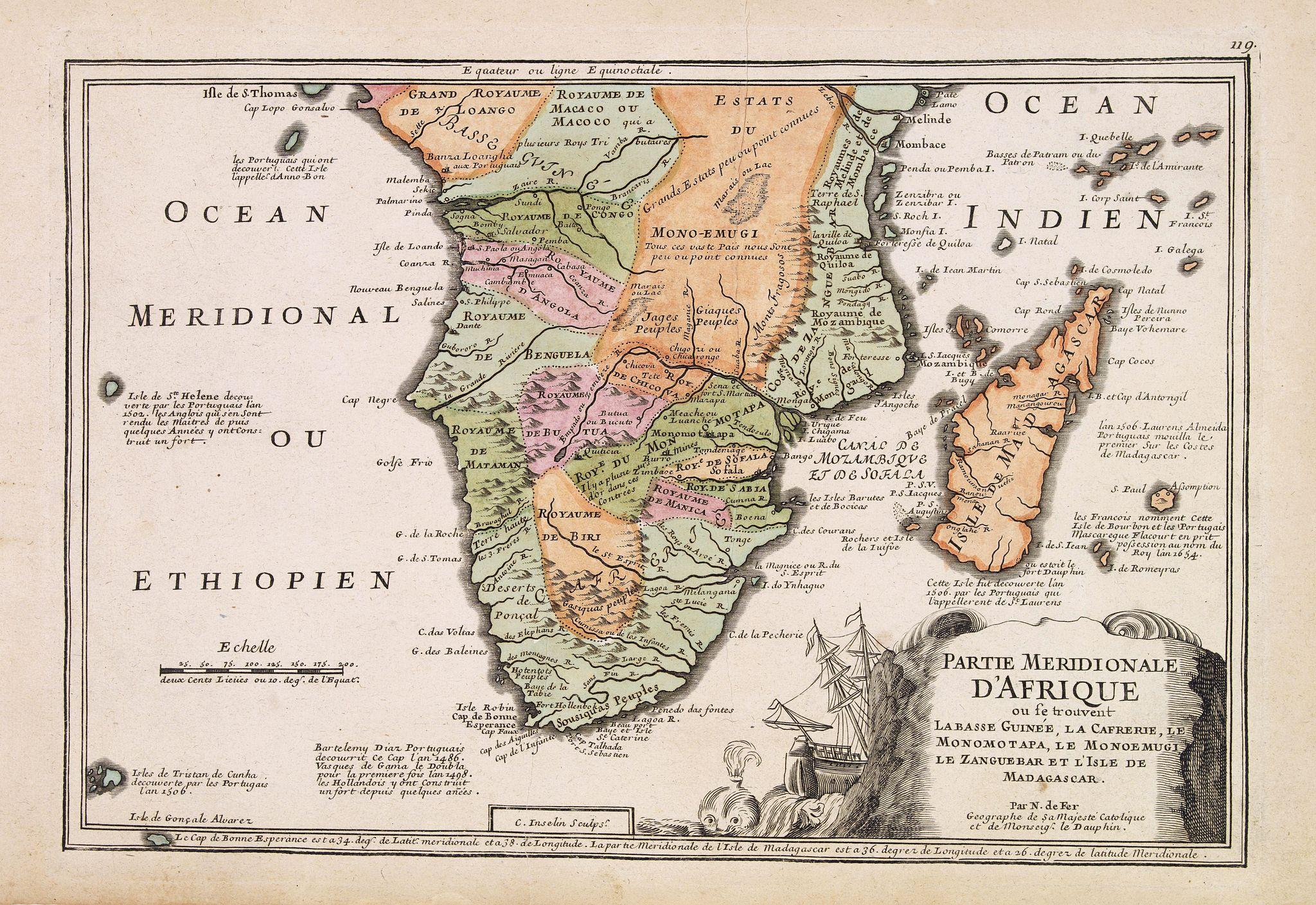 DE FER, N. -  Partie méridionale d'Afrique où se trouvent la Basse Guinée, la Cafrerie, le Monomotapa, le Monoemugi, le Zanguebar et l'isle de Madagascar.
