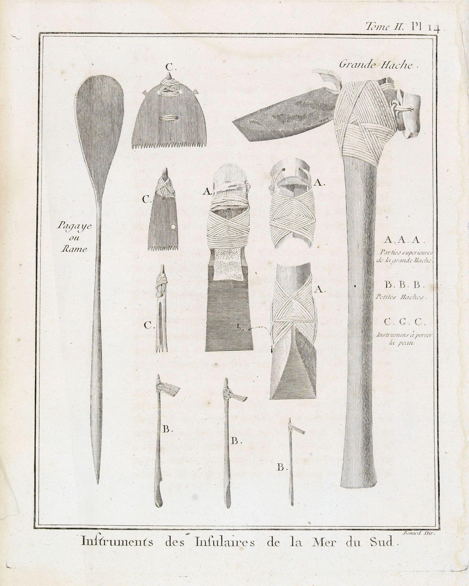 COOK, Captain James. -  Tome  II. Pl. 14 - Instruments des Insulaires de la Mer du Sud.