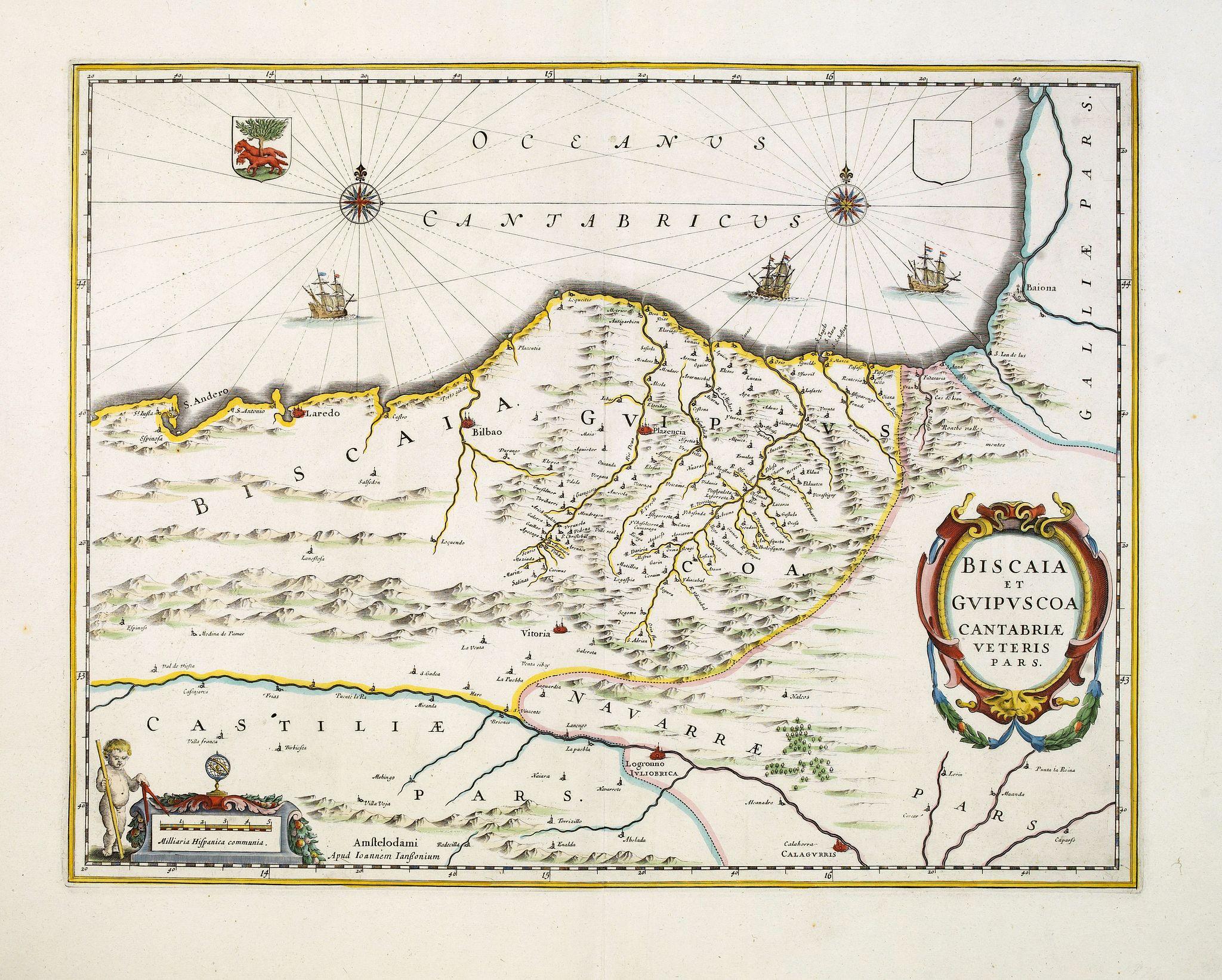 JANSSONIUS, J. -  Biscaia et Guipuscoa Cantabriae Veteris Pars.