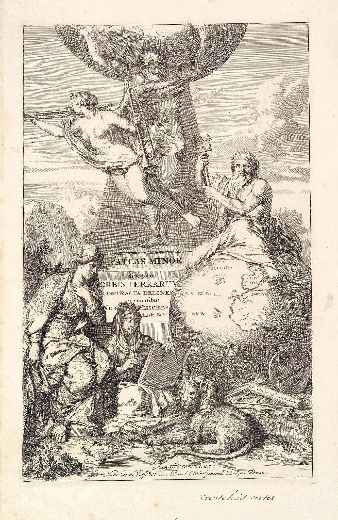 VISSCHER, N. -  Title page: Atlas Minor sive totius Orbis Terrarum. . .