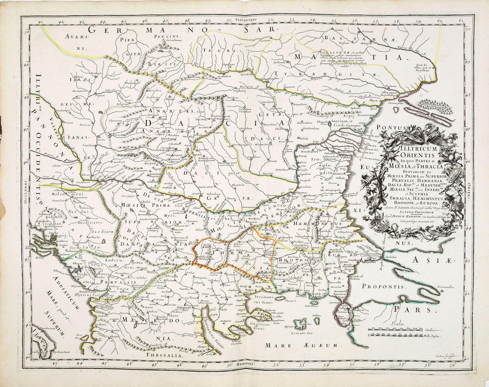 SANSON, N. / MARIETTE, P. -  Illyricum Orientis In quo Partes II. Moesia et Thracia. Provinciae XI.