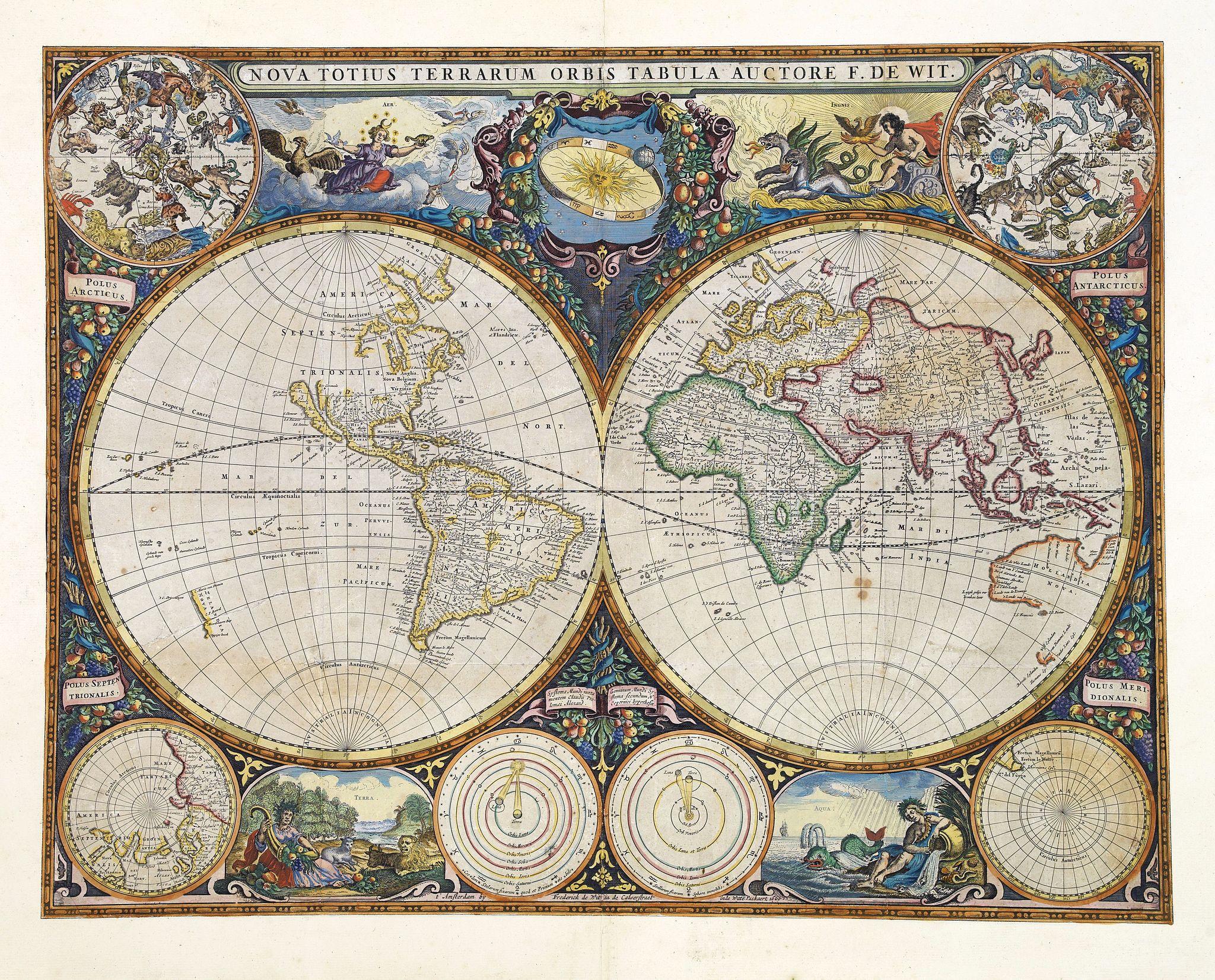 DE WIT, F. - Nova Totius Terrarum Orbis Tabula.