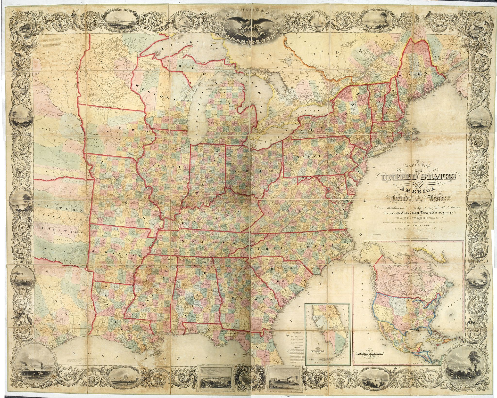 SMITH John Calvin Map Of The United States Of America Including - Us map including canada