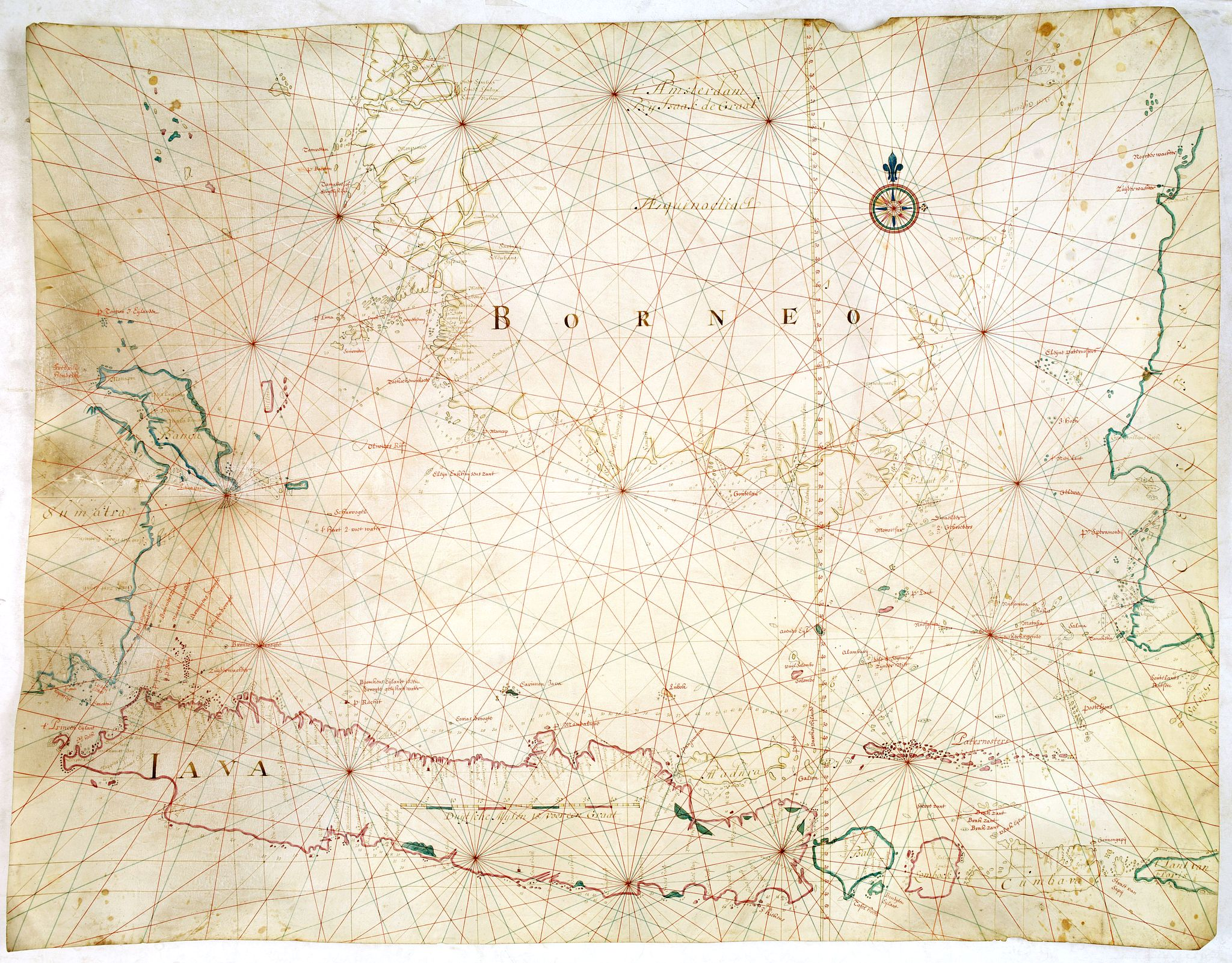 GRAAF, I.,  [Manuscript chart on vellum of the Java Sea], antique map, old maps