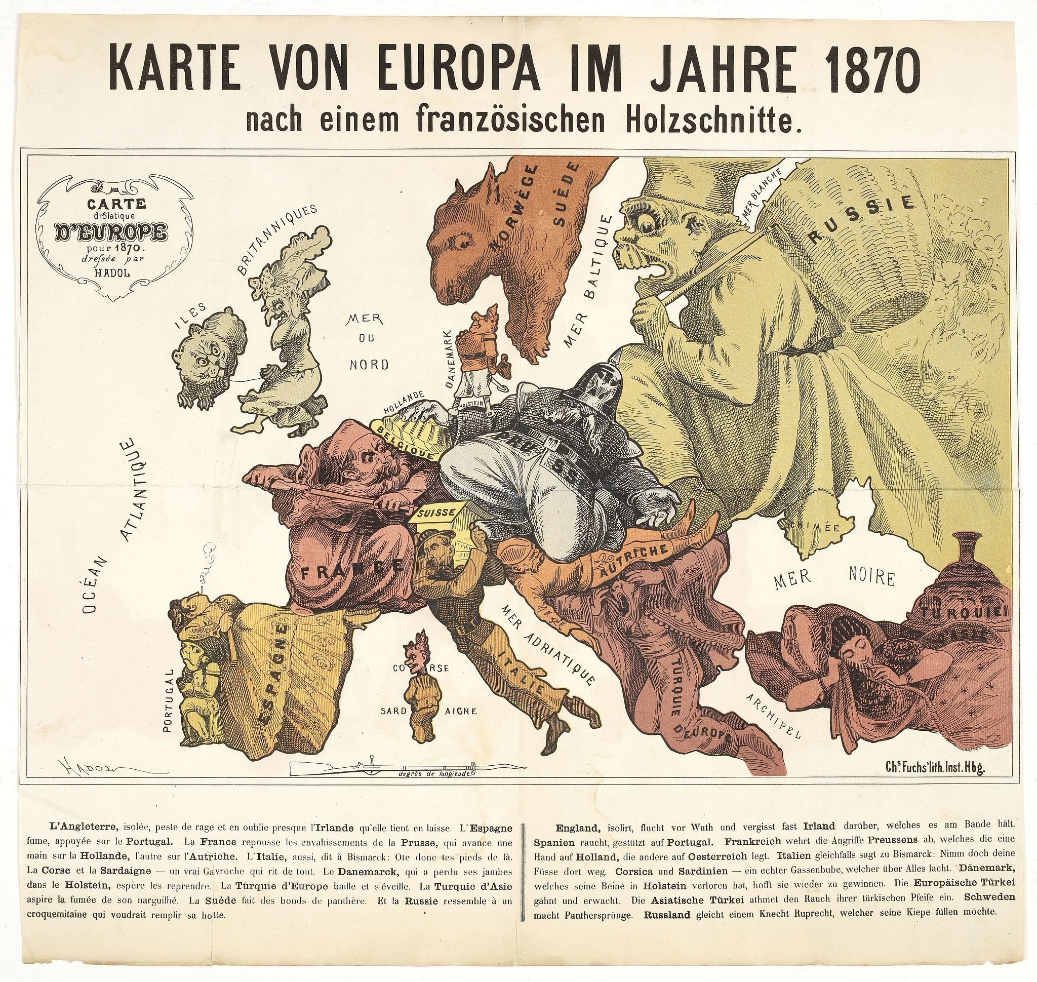 HADOL. -  Karte von Europa im Jahre 1870 nach einem französischen Holzschnitte.